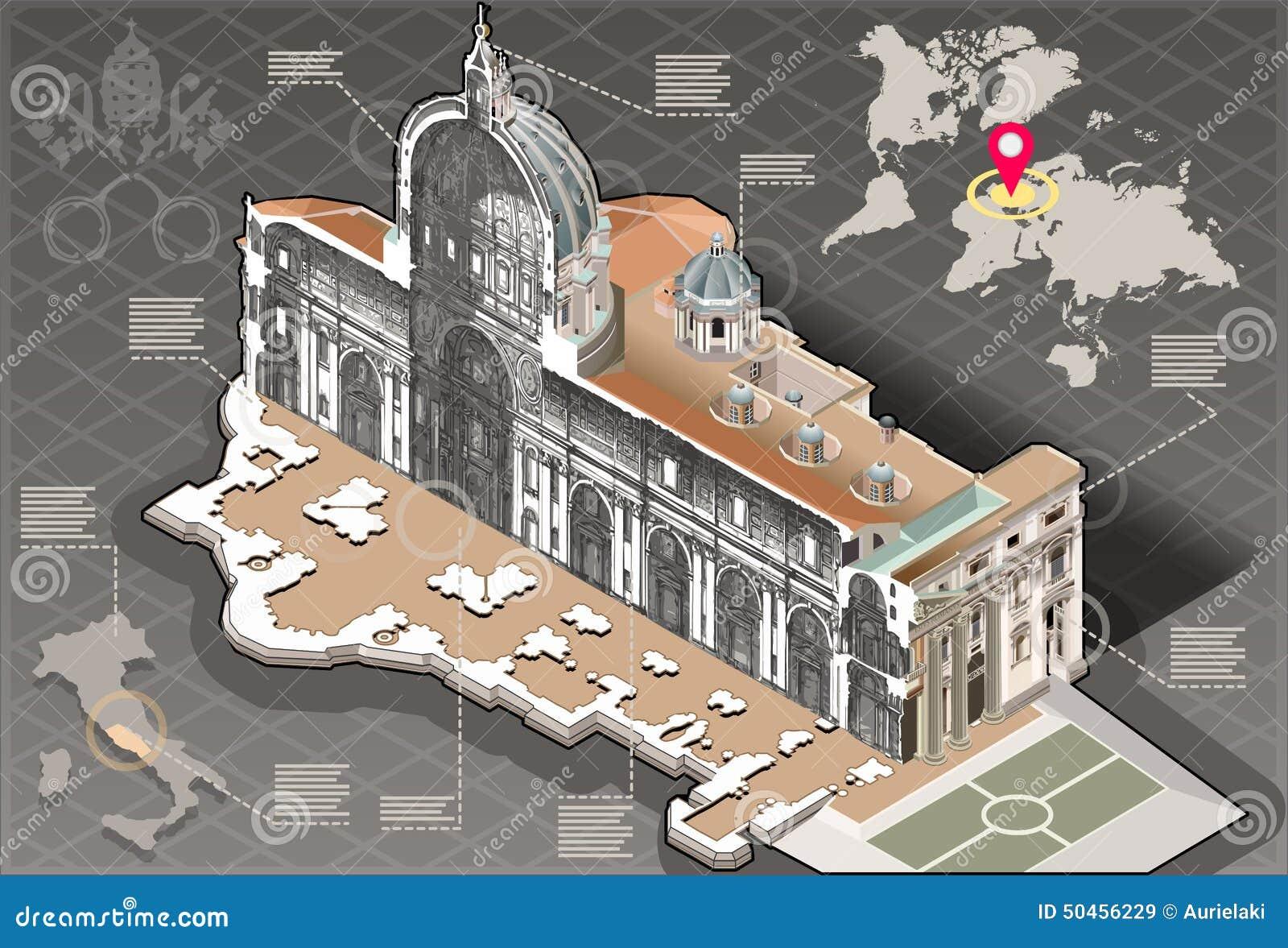 Infographic isométrico de St Peter na seção de centro de Roma