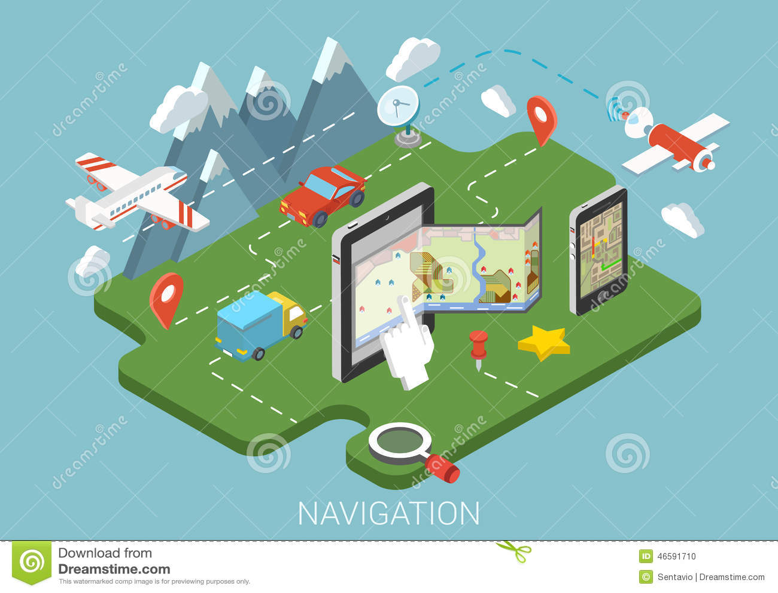 Infographic isometriskt begrepp 3d för plan mobil GPS för översikt navigering
