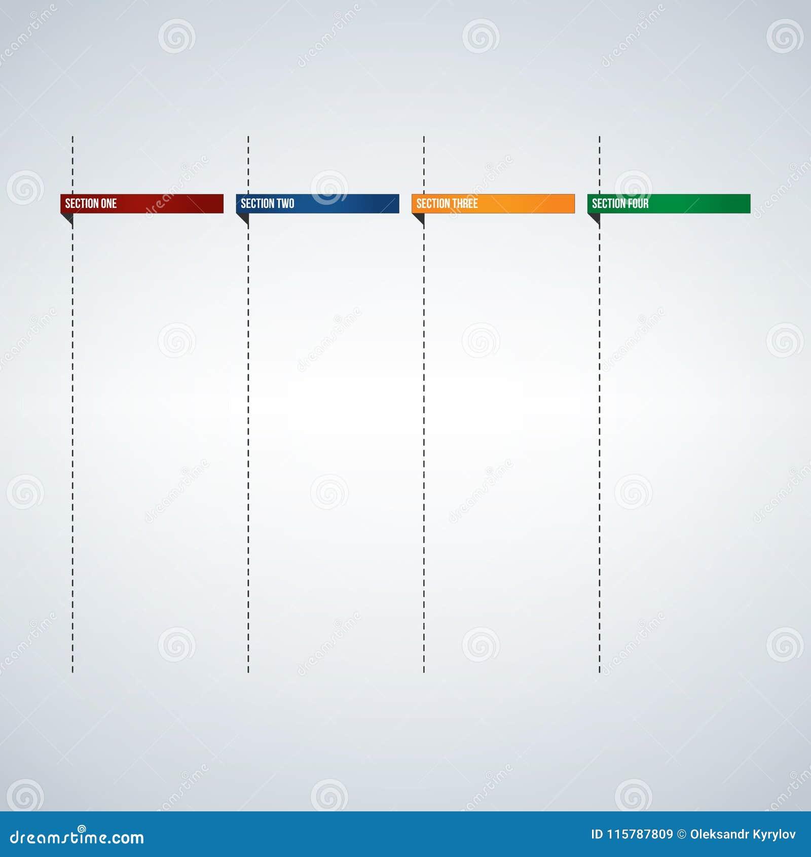 Infographic kolonner för textask eller banermall, färgrika flikar planlägger klart att skriva in din text Användbart för rengörin