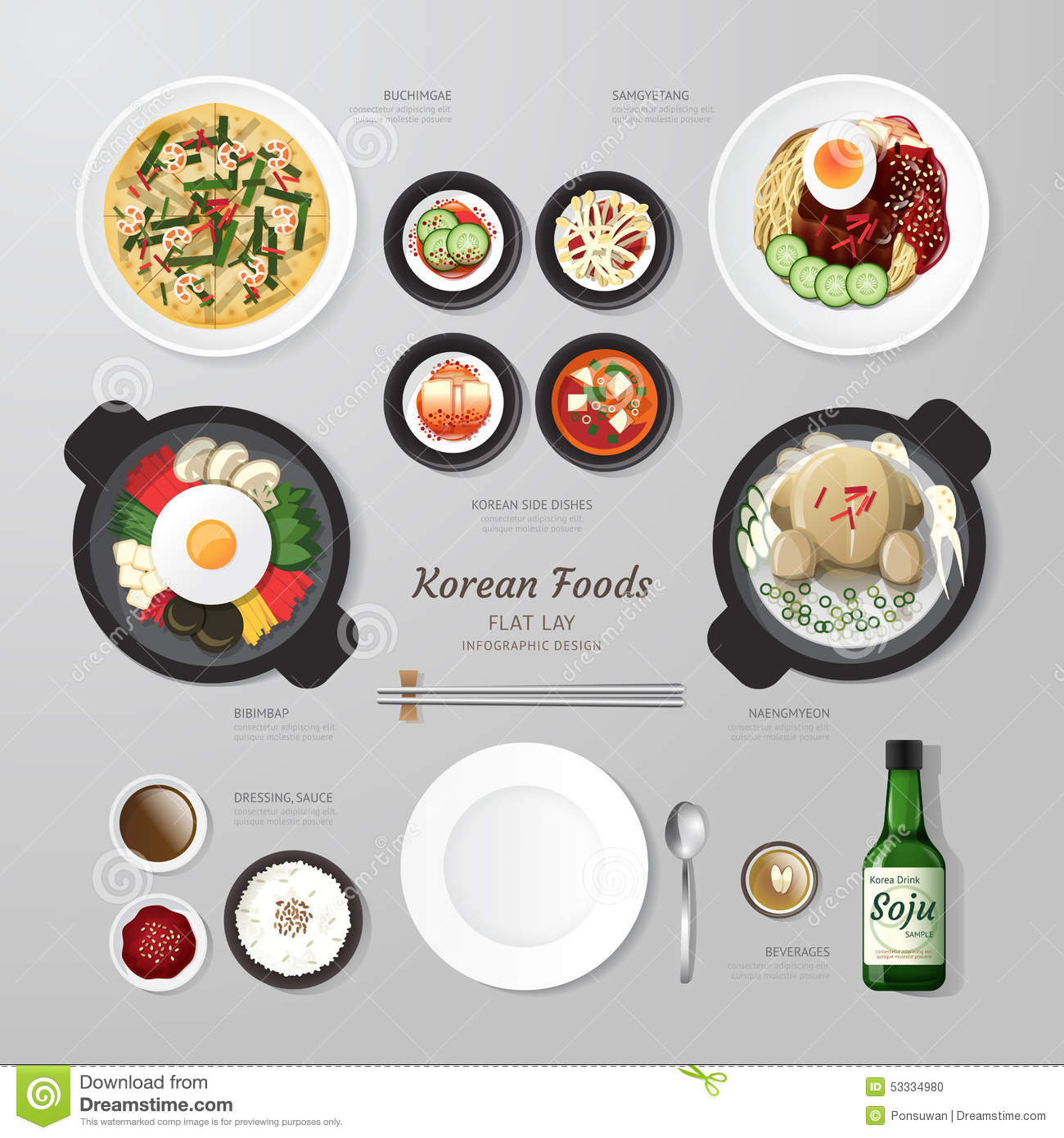 Infographic Korea Foods Business Flat Lay Idea Stock Vector