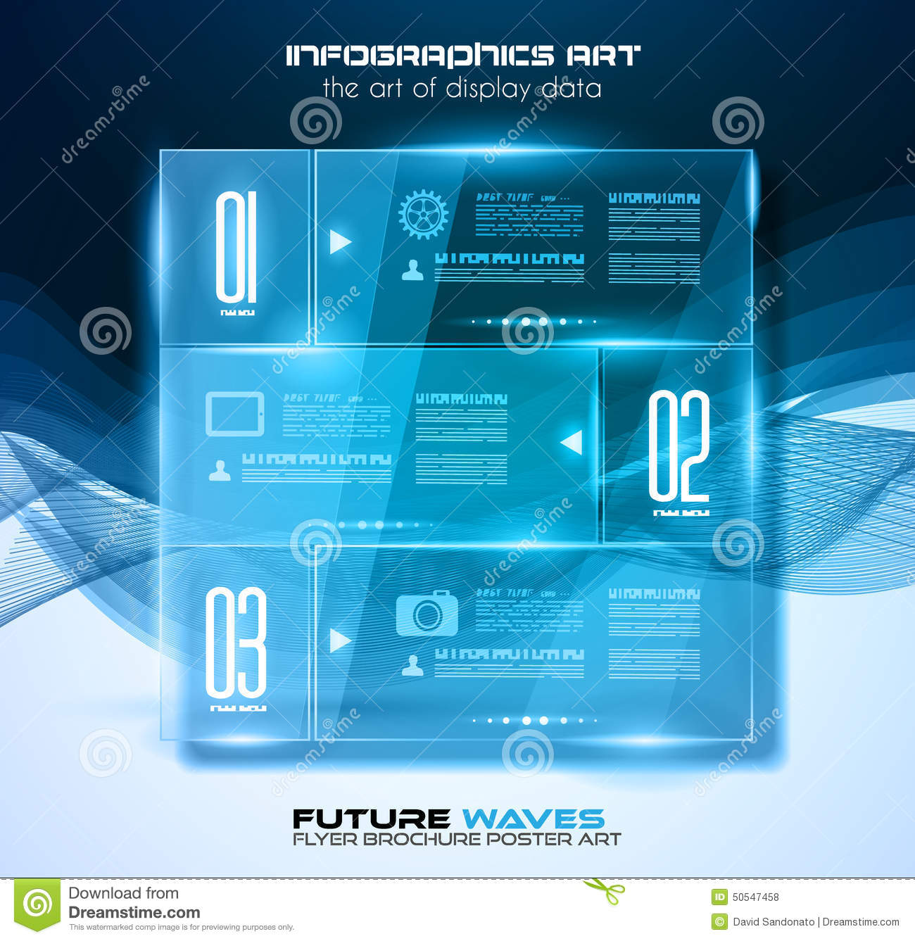 Infographic Layout With Spotlights Over An High Tech