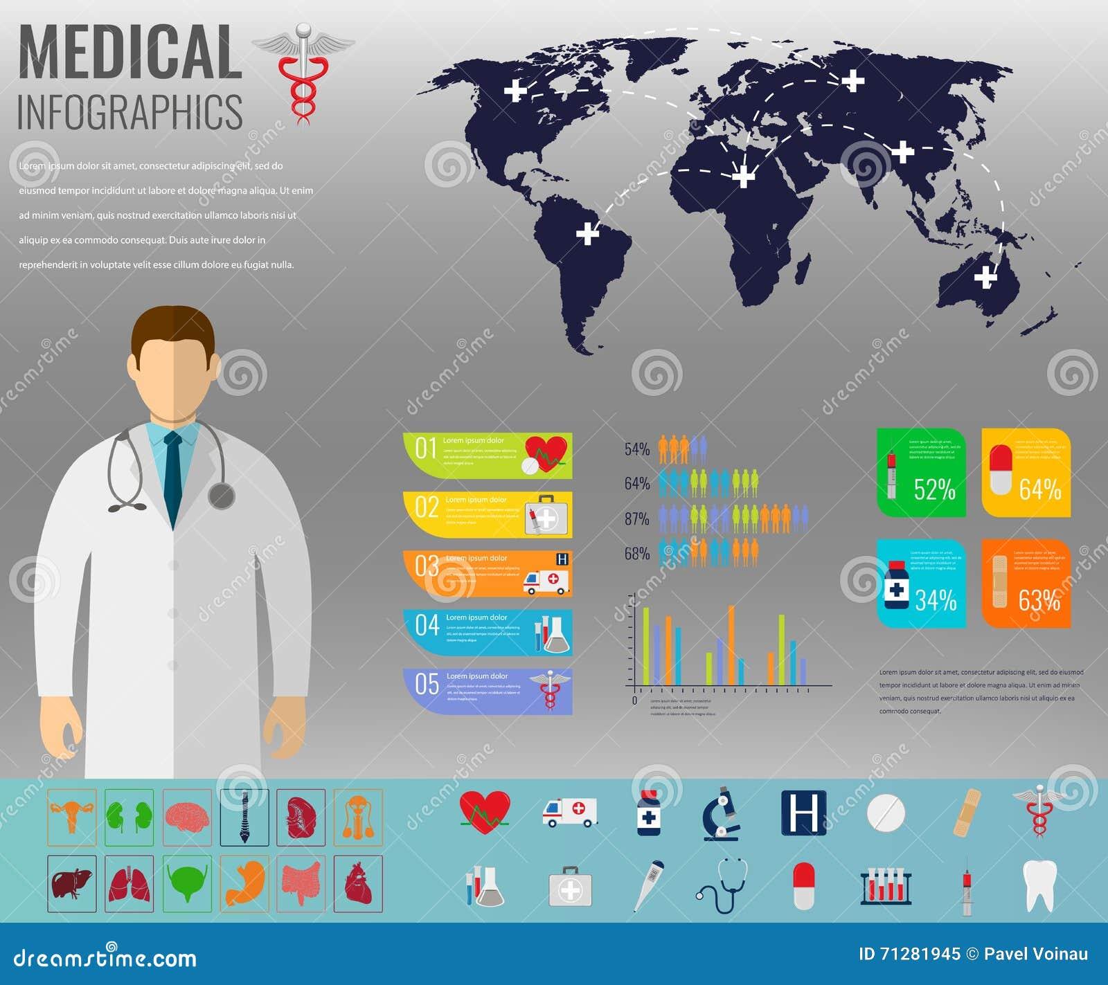 Infographic Médico Fijó Con Las Cartas Y Otros Elementos Vector ...