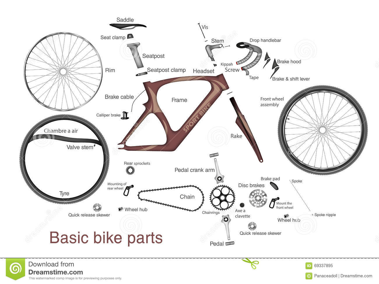 infographic of main bike parts with the names stock vector. Black Bedroom Furniture Sets. Home Design Ideas