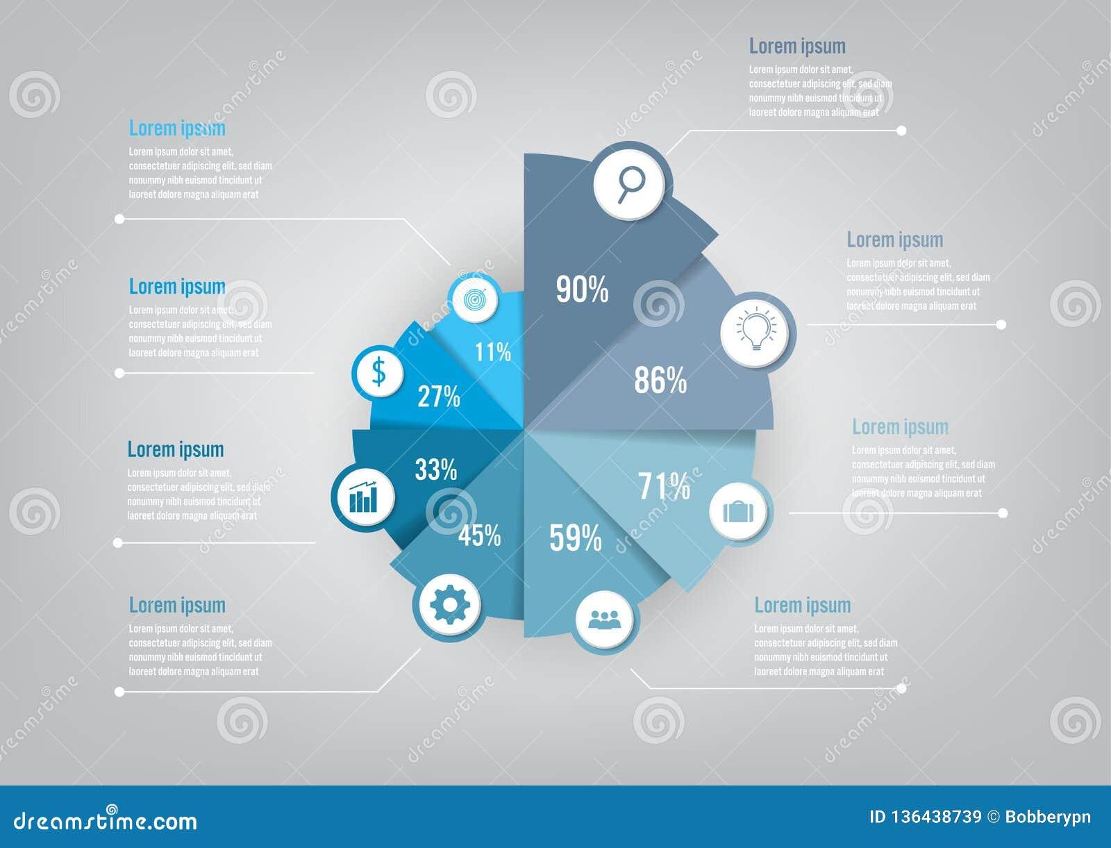 Infographic mall för affär med pajdiagrammet för 8 alternativ, abstrakta beståndsdelar diagram eller processar och plan symbol fö