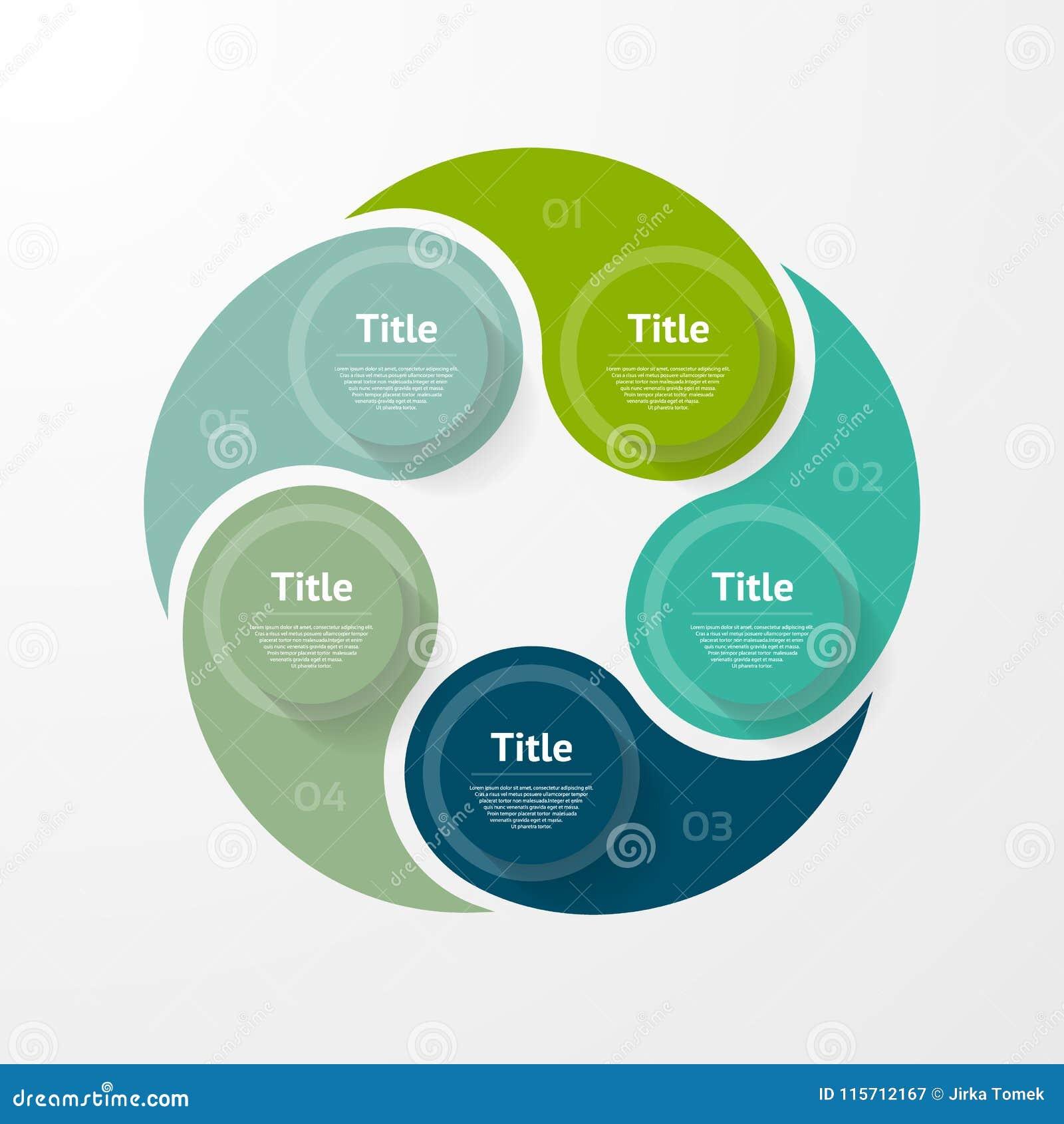 Infographic mall för vektor för diagram, graf, presentation och diagram Affärsidé med 5 alternativ, delar, moment