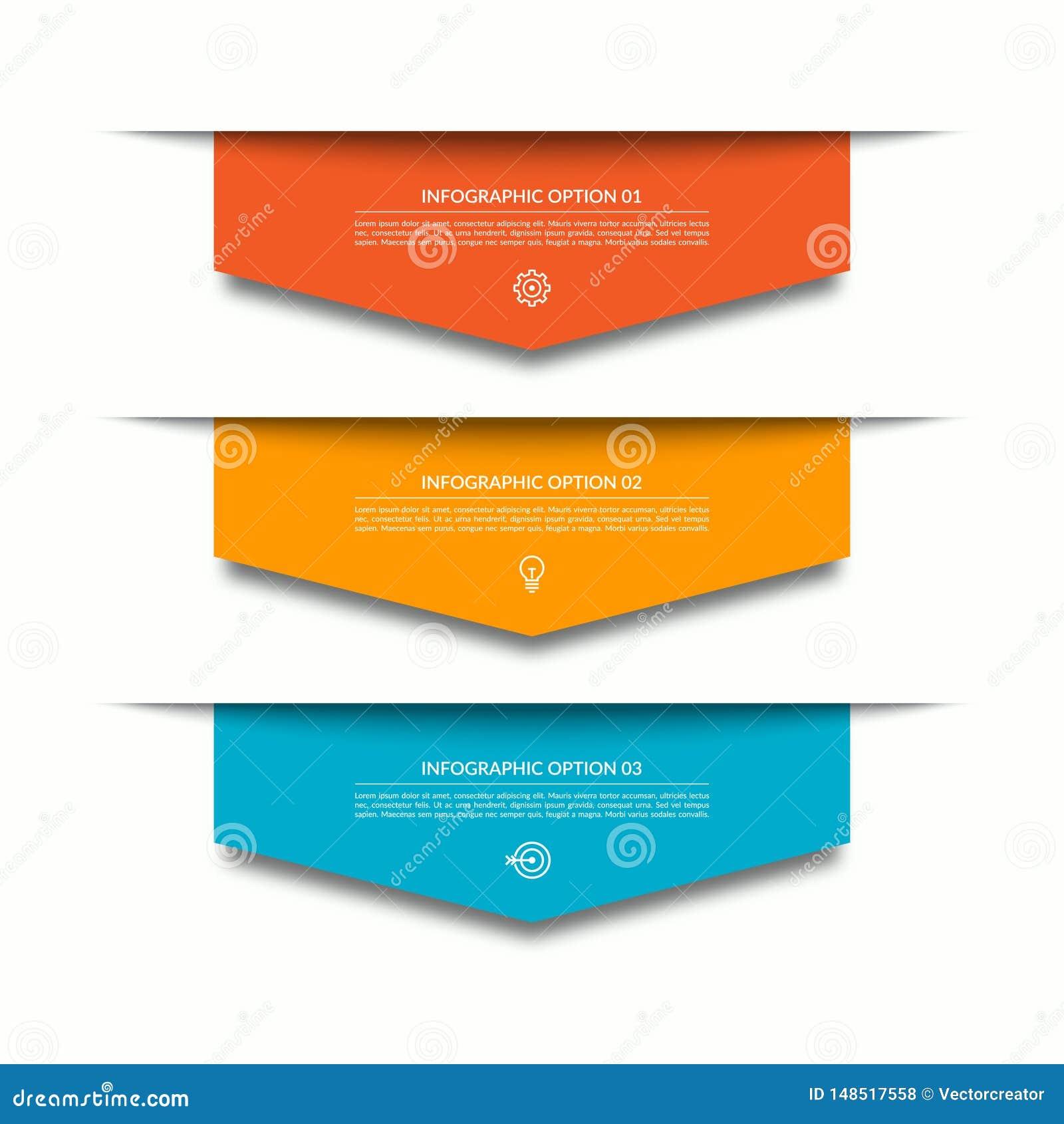 Infographic mall med 3 nedåtriktade färgrika pappers- pilar Kan anv?ndas f?r diagrammet, diagrammet, reng?ringsdukdesign