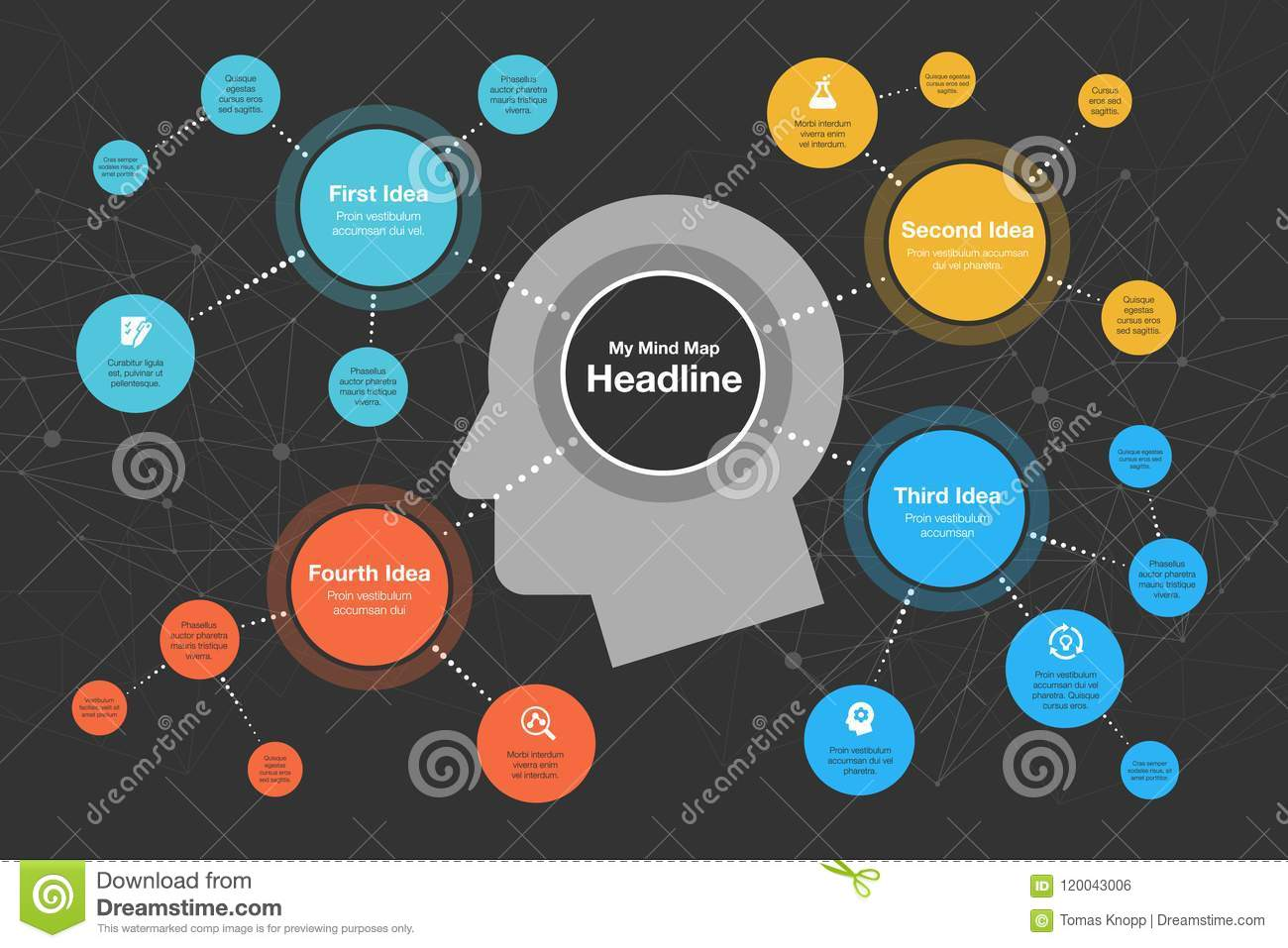 Graphic Design Muur : Infographic for mind map visualization template stock illustration
