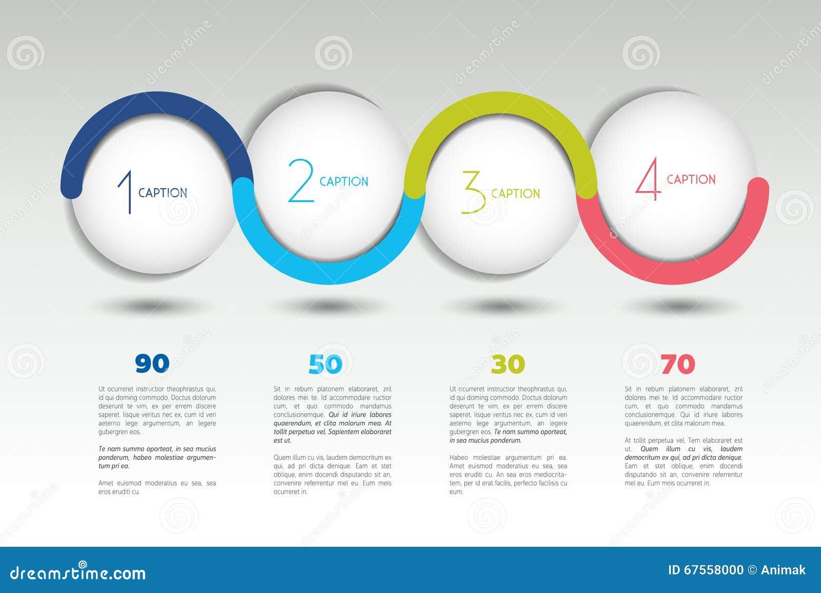 Infographic opci wektorowy sztandar z 4 krokami Kolor sfery, piłki, gulgoczą