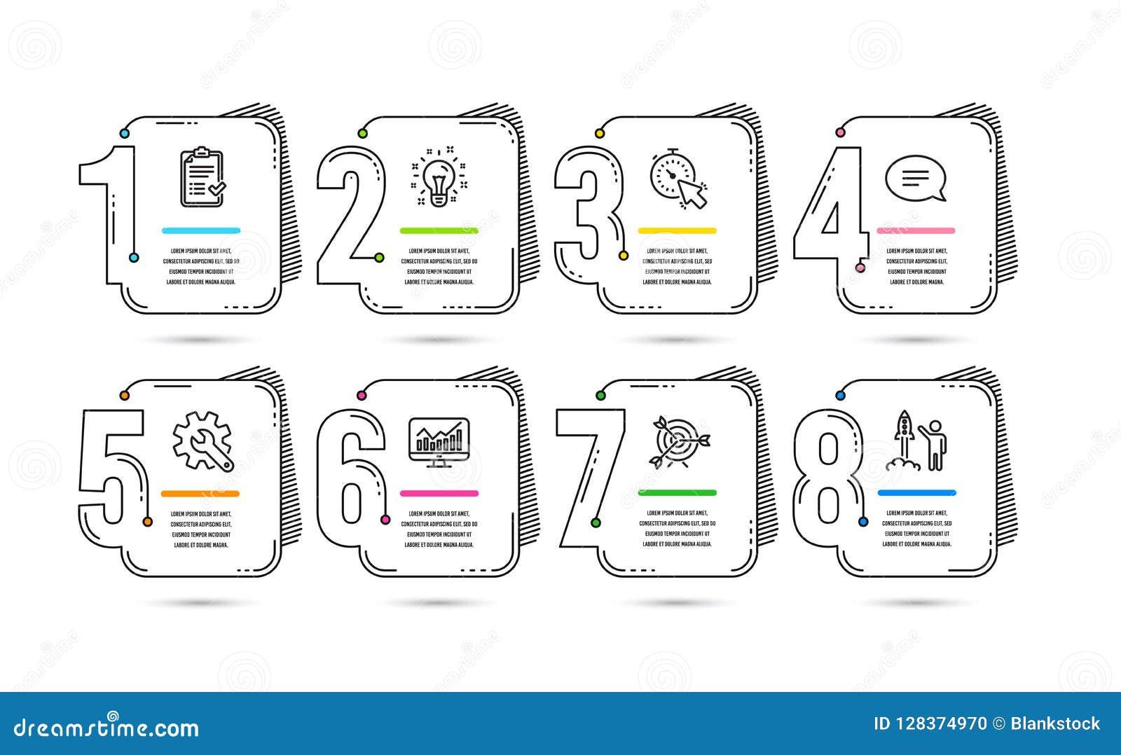 Infographic 8 options ou conceptions de chronologie d étapes Infographics pour le concept d affaires Disposition de déroulement d