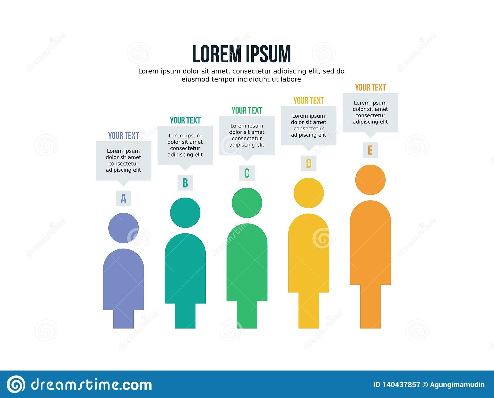 Infographic People Template And Powerpoint Full Color Stock Vector Illustration Of Creative Graph 140437857