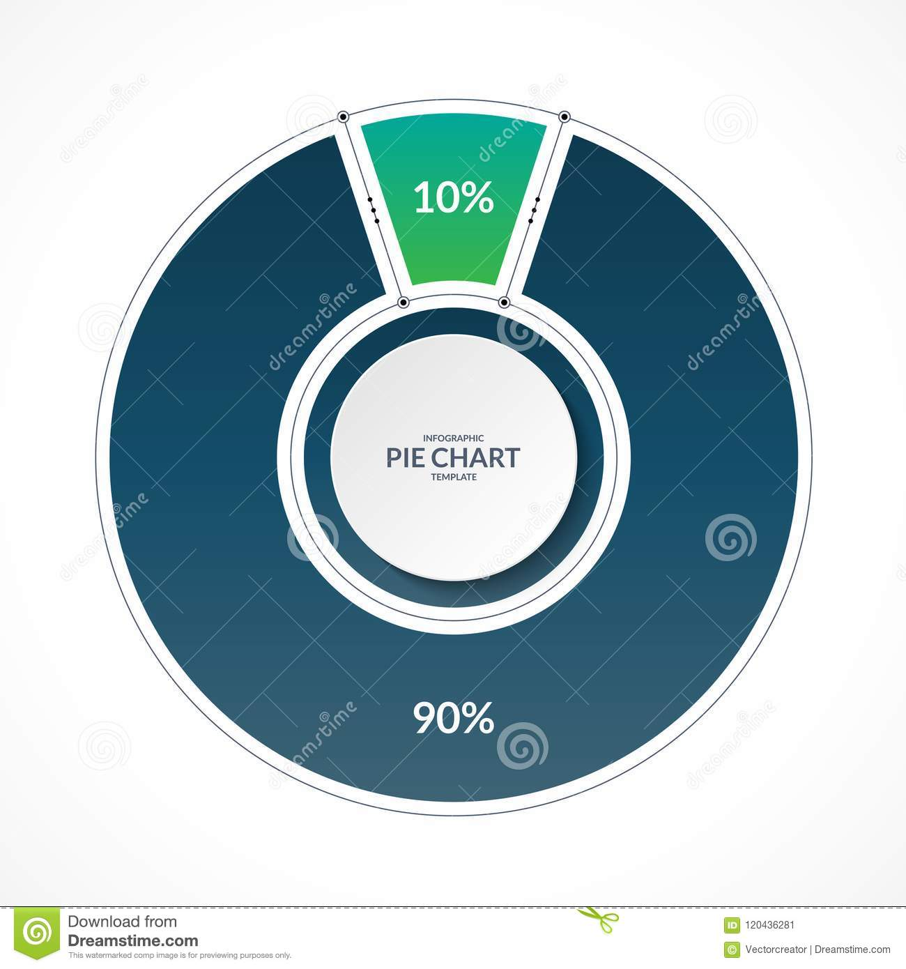 Infographic Pie Chart Circle In Thin Line Flat Style Share Of 10