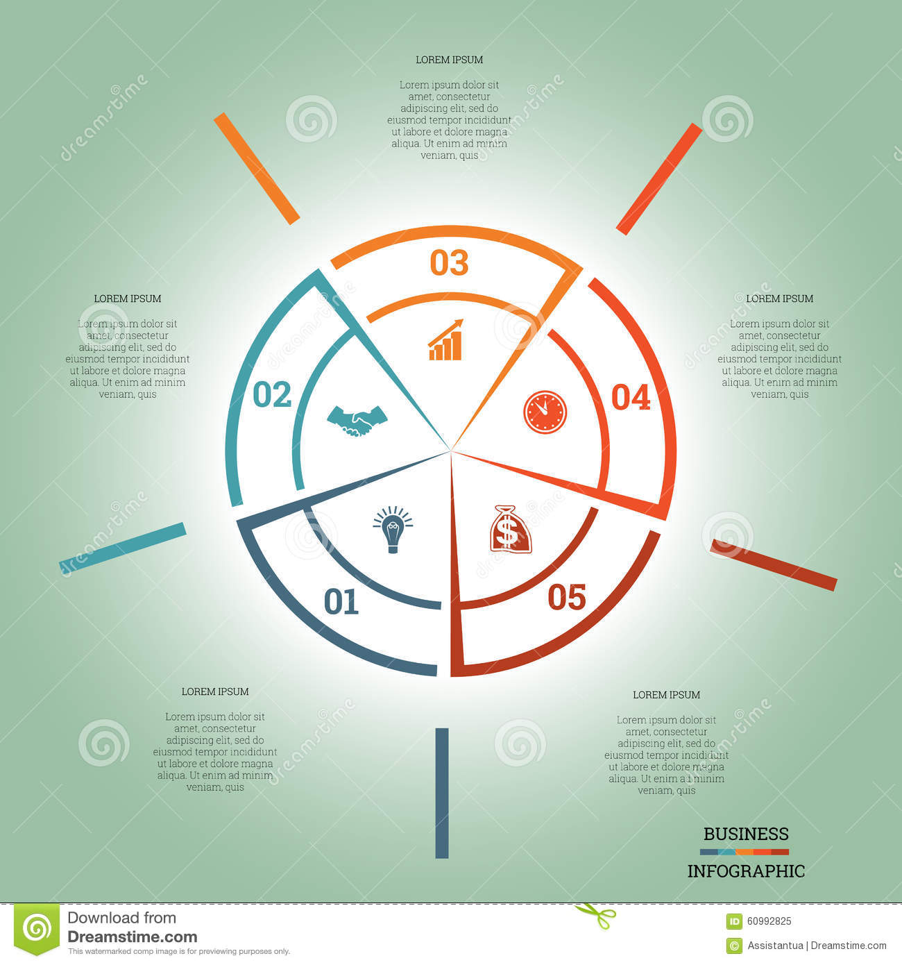 Infographic pie chart template colourful circle five positions stock infographic pie chart template colourful circle five positions nvjuhfo Choice Image