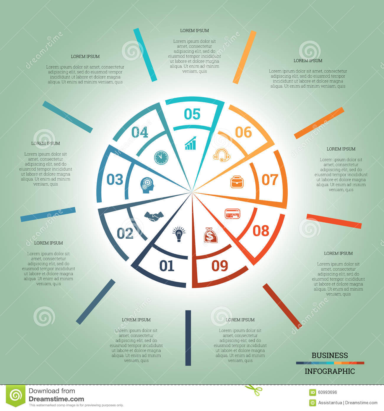 Infographic Pie Chart Template Colourful Circle Nine Positions Stock