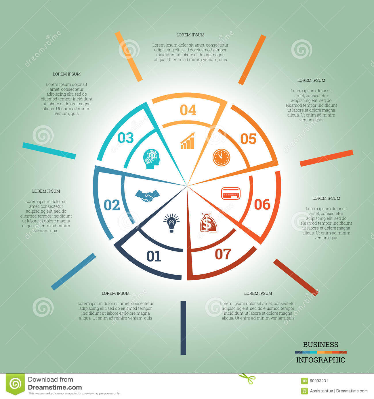 Infographic pie chart template colourful circle seven positions infographic pie chart template colourful circle seven positions nvjuhfo Choice Image