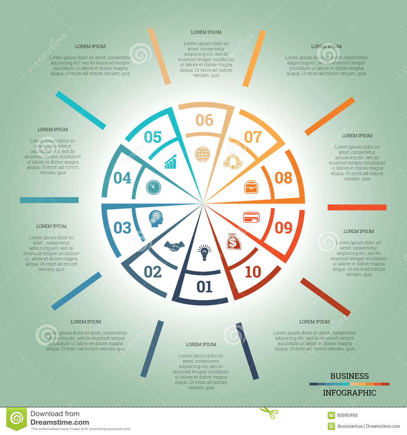 Infographic Pie Chart Template Colourful Circle Ten Positions Stock