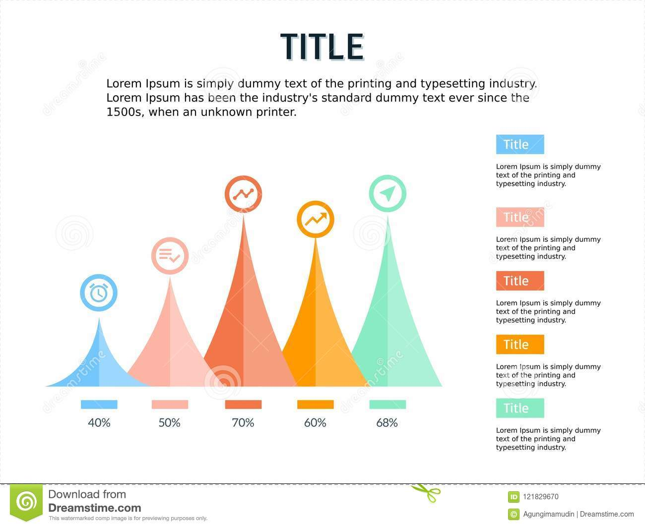 infographic and ppt template design four steps with mountain theme