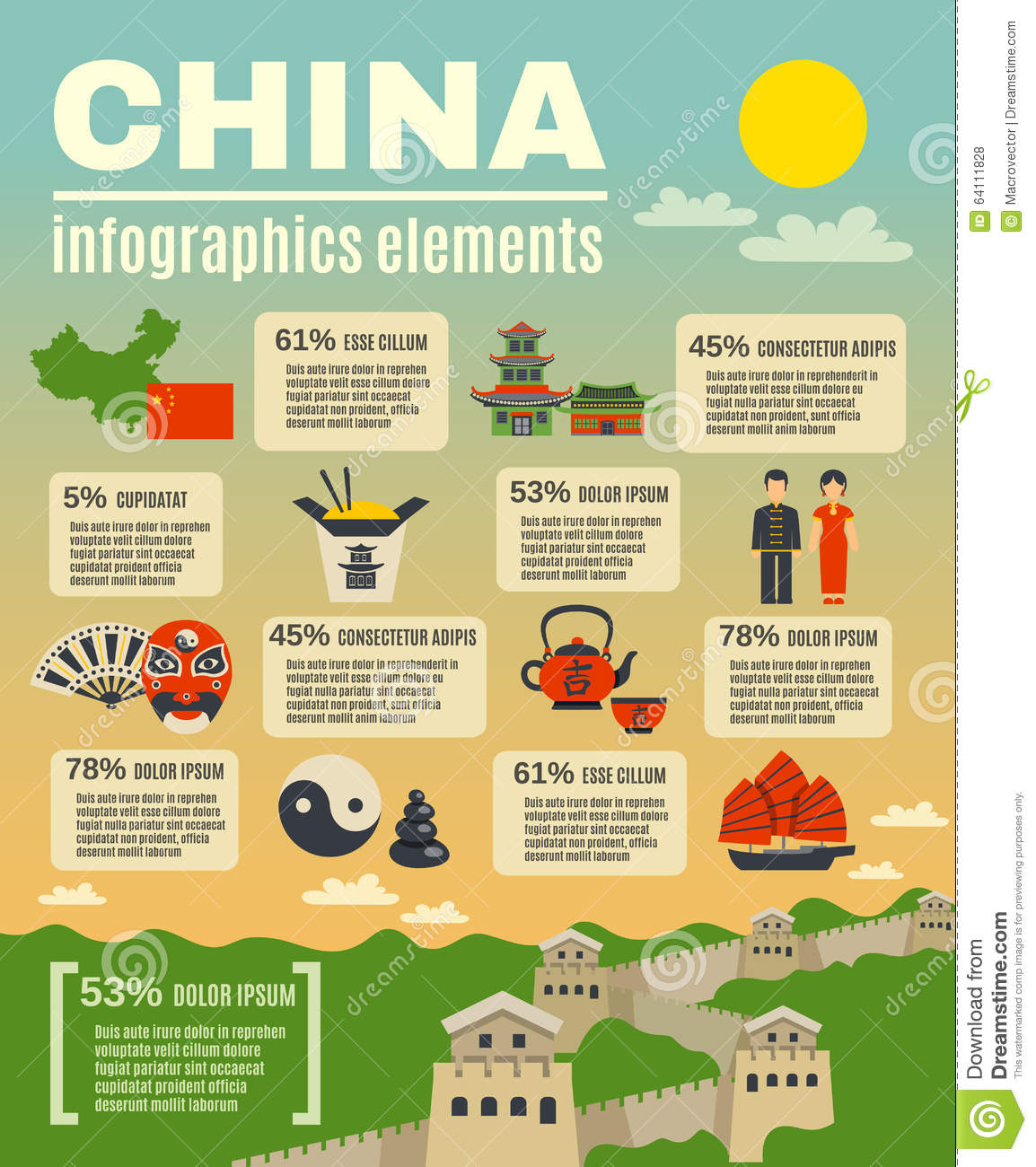 Infographic presentation poster on chinese stock vector for 10 facts about chinese cuisine