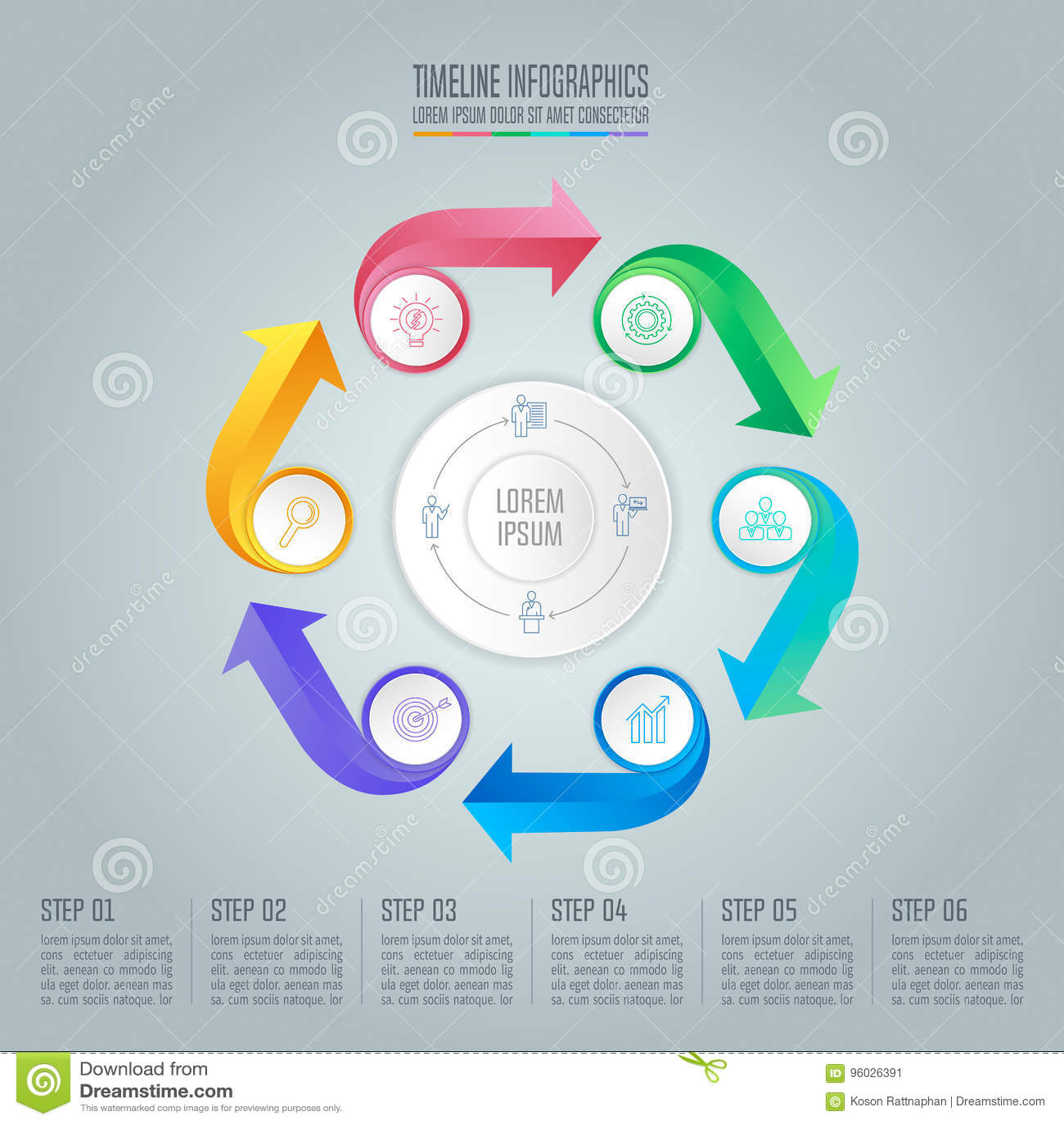 Infographic projekta biznesowy pojęcie z 6 opcjami
