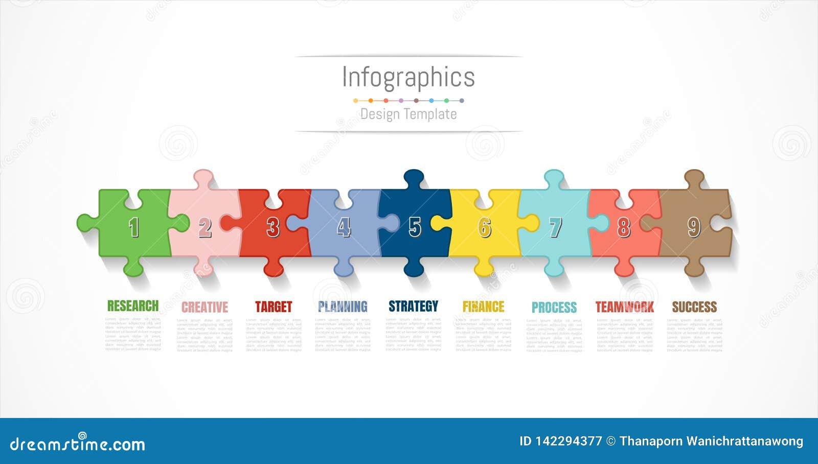 Infographic projekta elementy dla twój biznesowych dane z opcjami, częściami, krokami, liniami czasu lub procesami 9, wektor