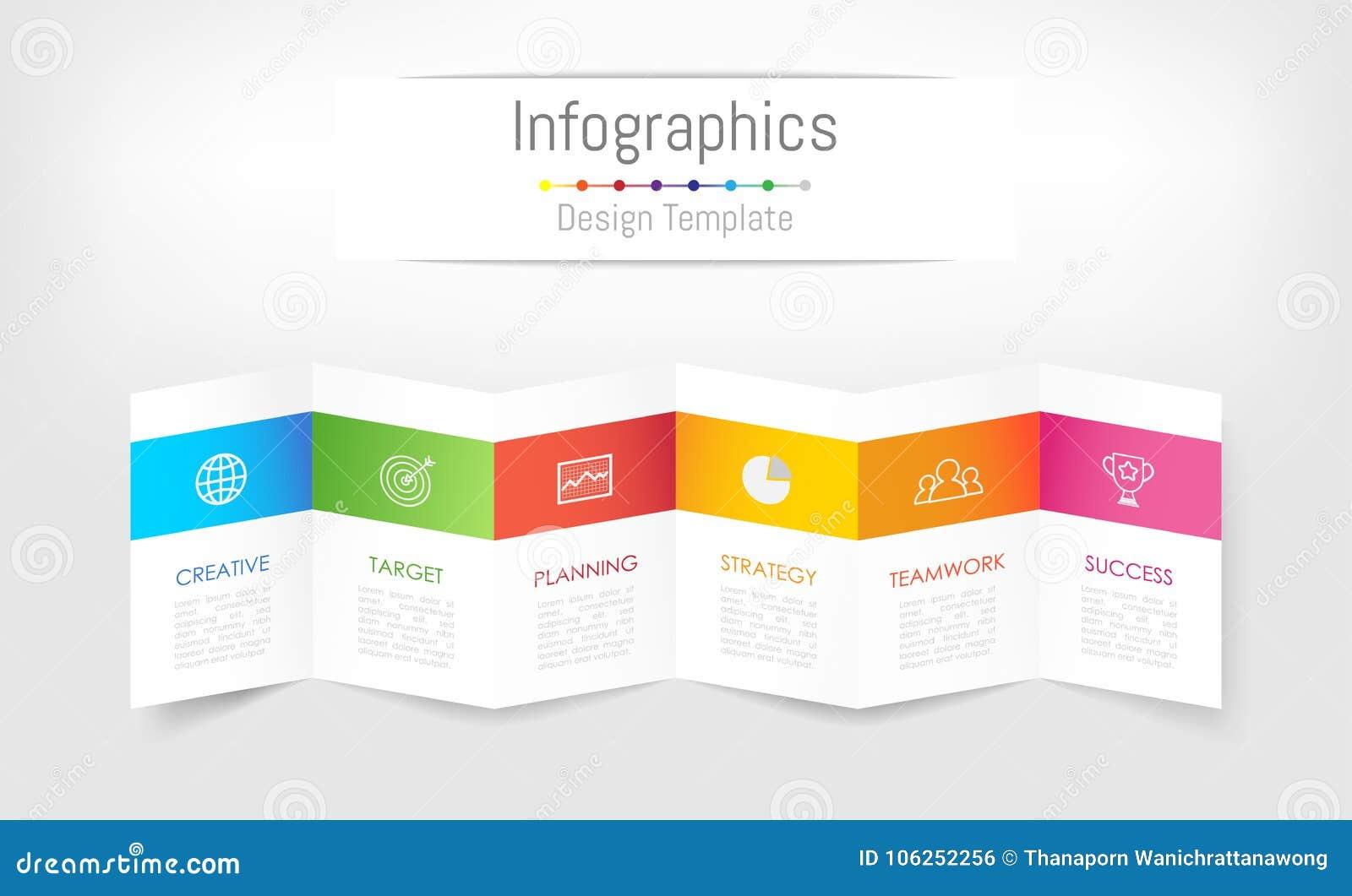 Infographic projekta elementy dla twój biznesowych dane z 6 opcjami