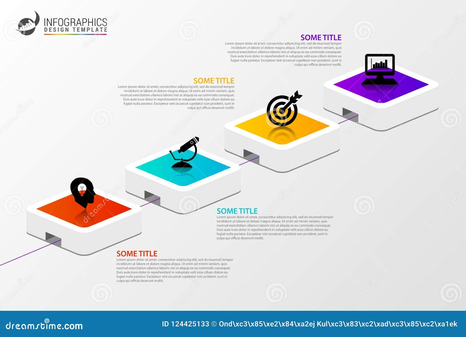 Infographic projekta szablon Kreatywnie pojęcie z 4 krokami