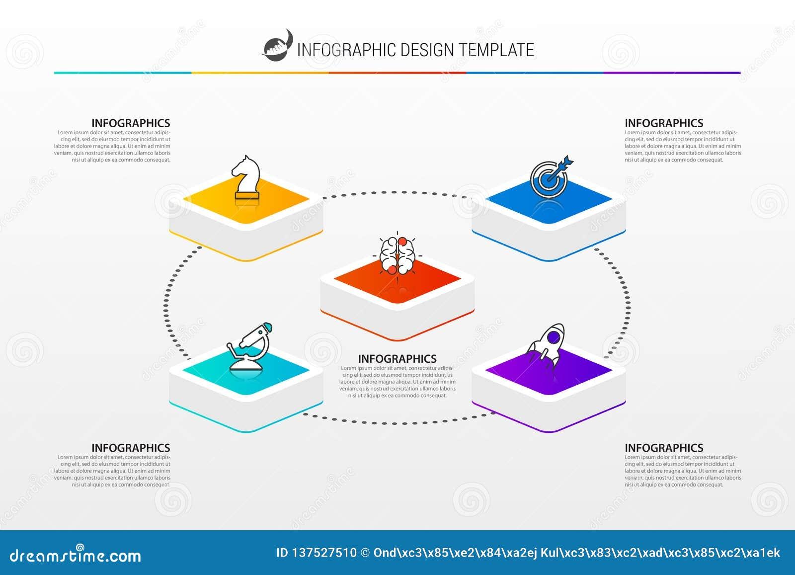 Infographic projekta szablon Kreatywnie pojęcie z 5 krokami