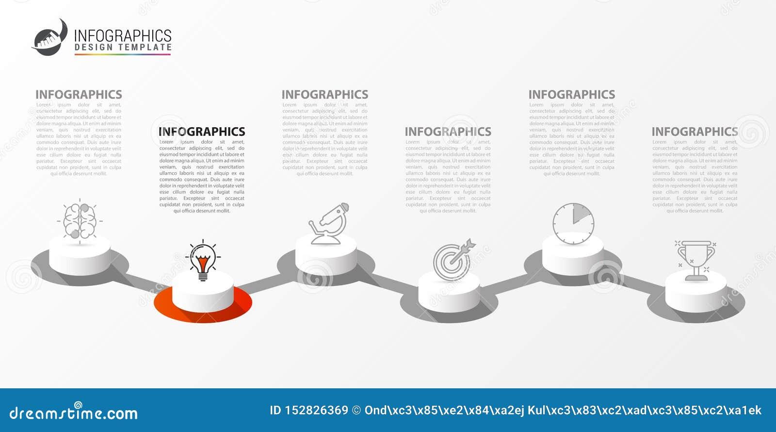 Infographic projekta szablon Kreatywnie poj?cie z 6 krokami