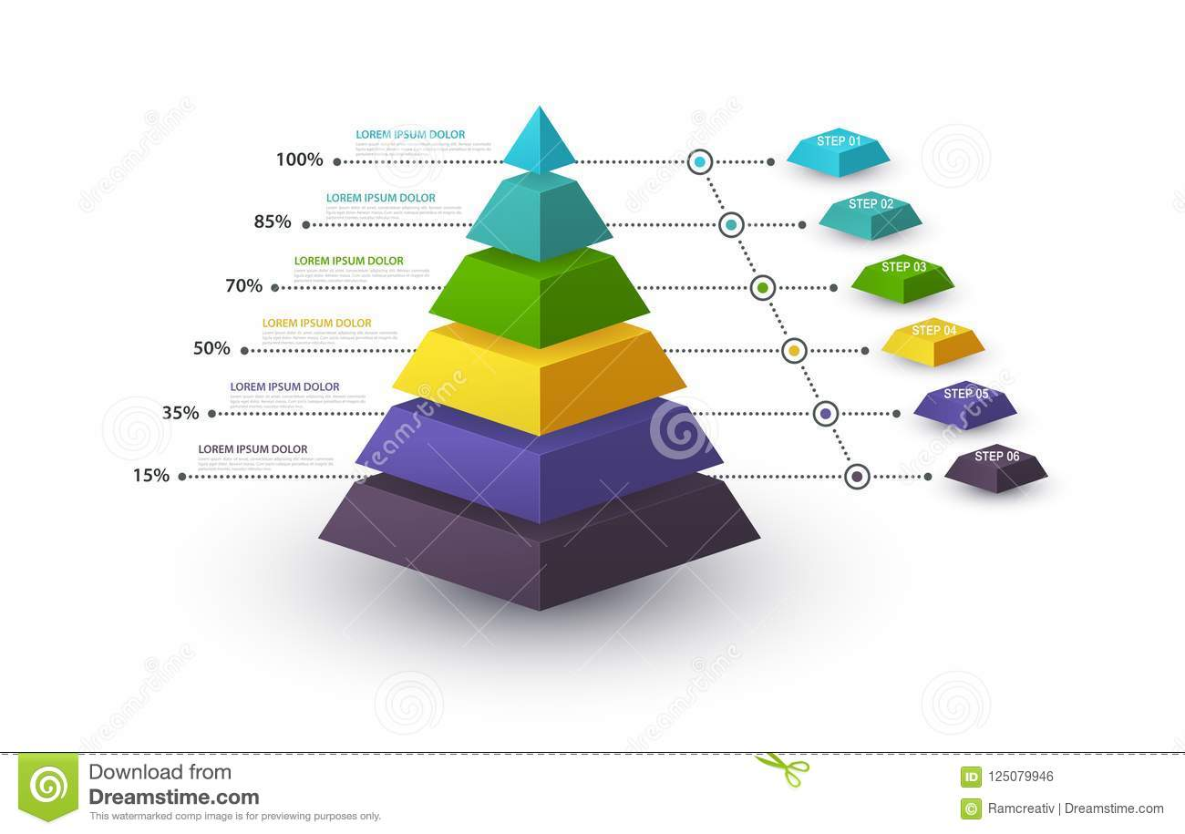Infographic pyramid with step structure and with percentages. Business concept with 6 options pieces or steps. Block diagram, info