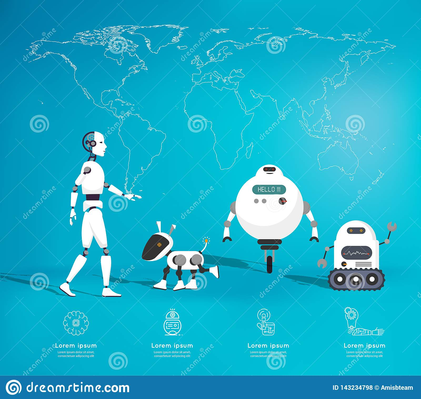 Infographic Robot Of Artificial Intelligence Concept