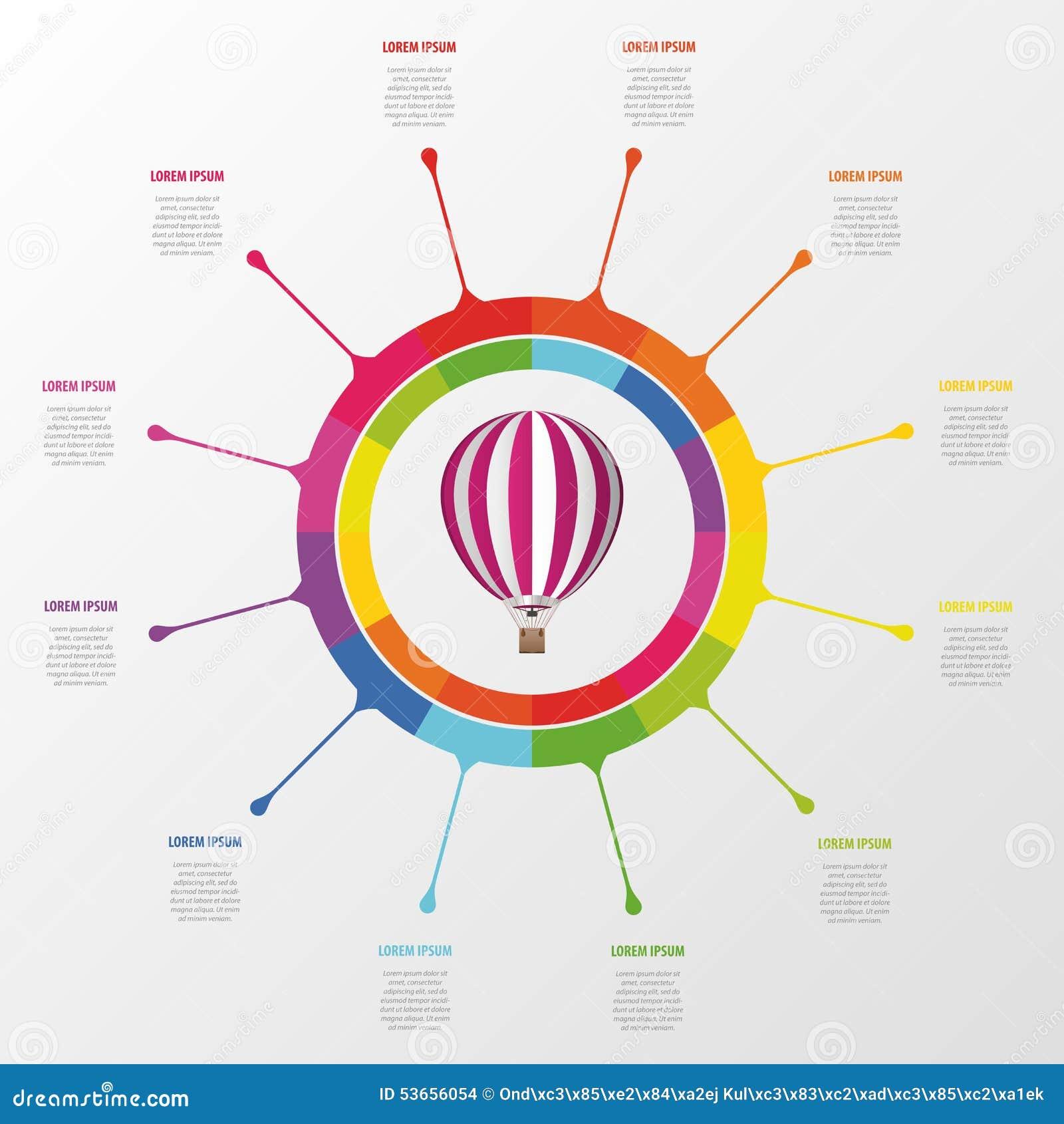 Infographic Schablone Bunter Kreis Mit Heißluftballon Vektor