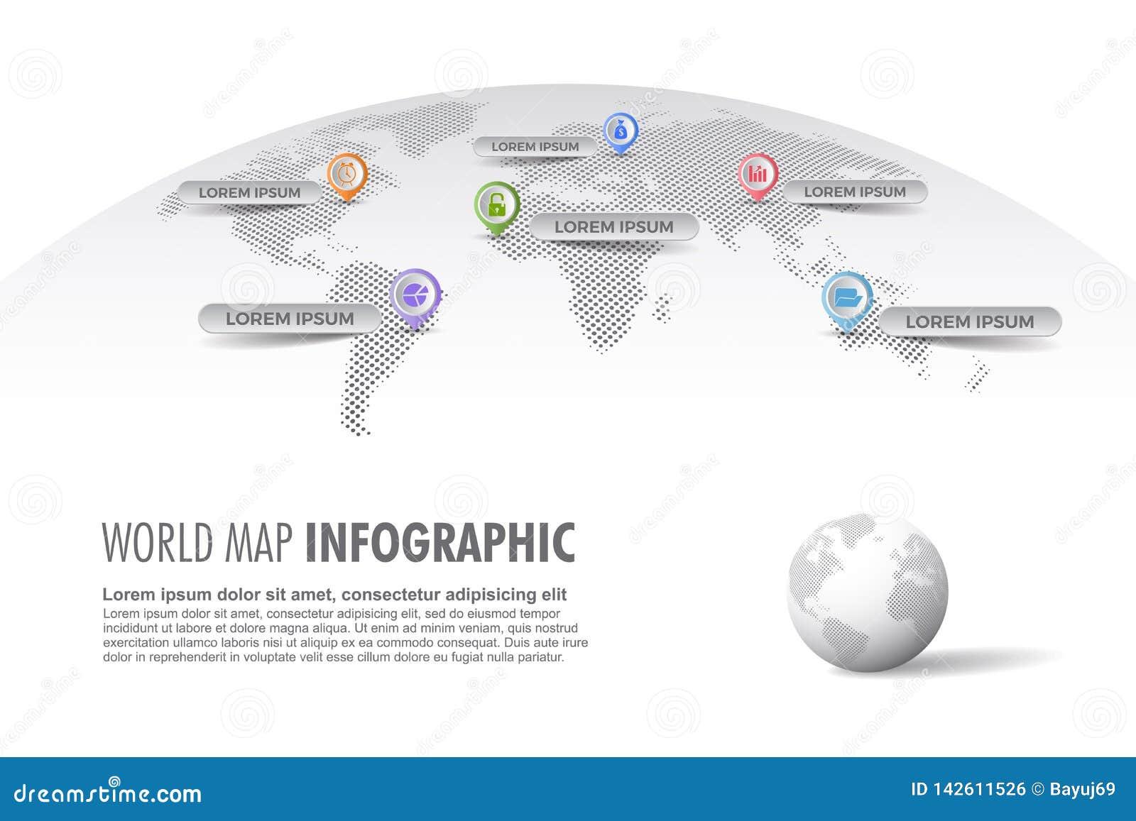 Infographic Schablone der hellen Halbtonweltkarte mit Kugel, Farbikonen als Datensichtbarmachung