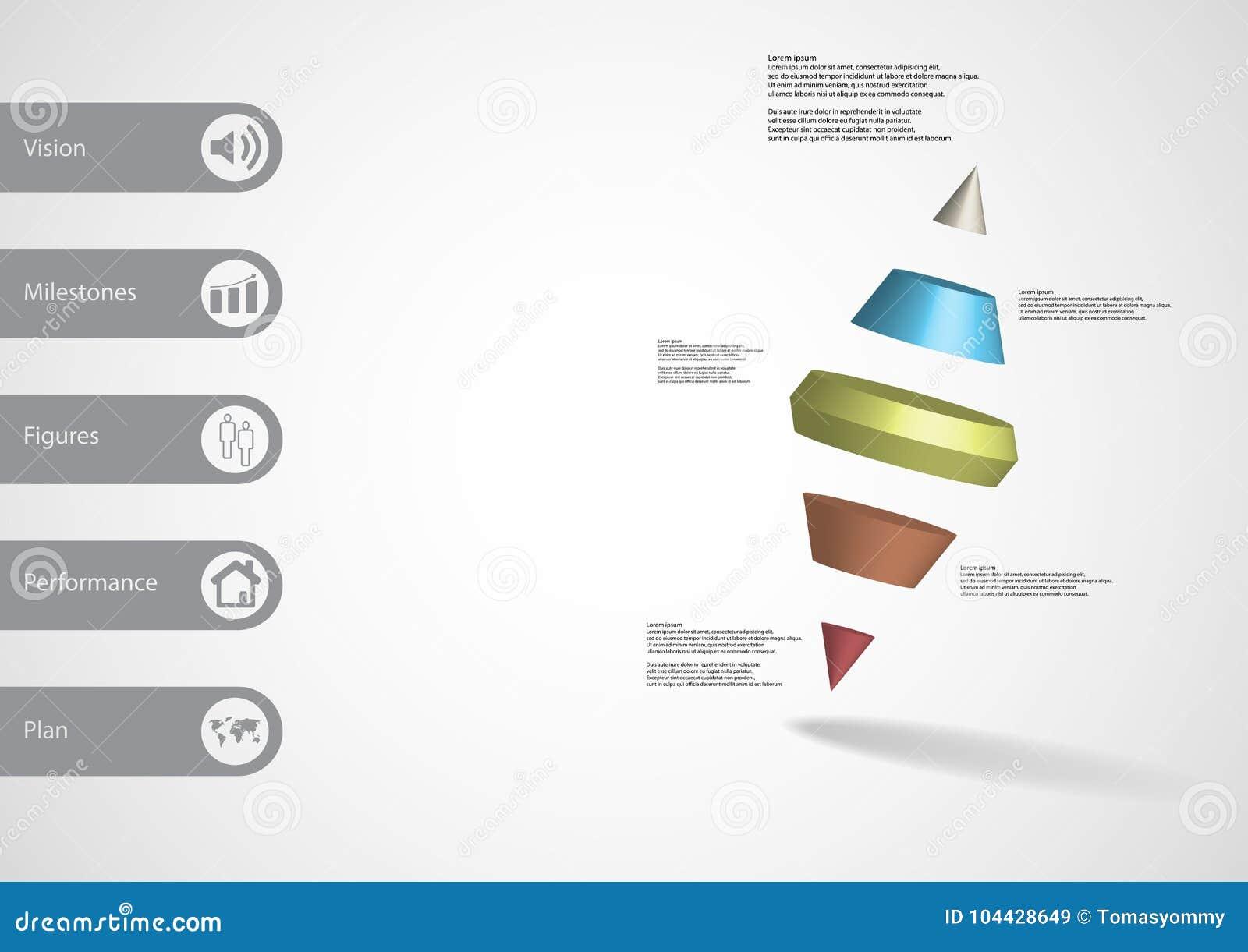 Infographic Schablone der Illustration 3D mit dem Kegel mit zwei Spitzen geteilt zu fünf Teilen schiefwinkliges vereinbart