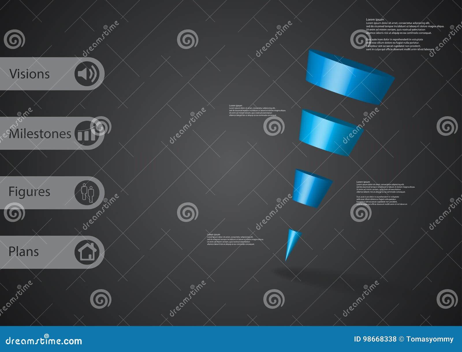 Download Infographic Schablone Der Illustration 3D Mit Dem Schrägen Dreieck  Horizontal Geteilt Zu Vier Blauen Scheiben