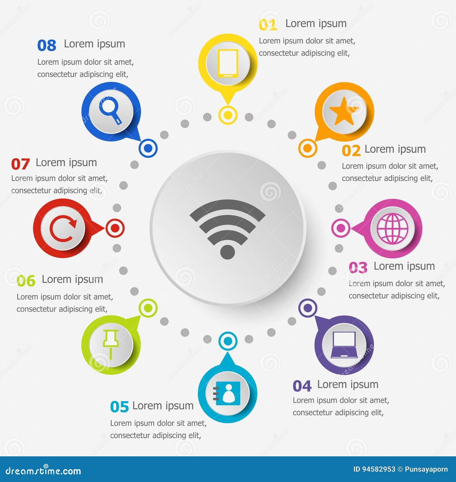 Infographic-Schablone mit Internet-Ikonen