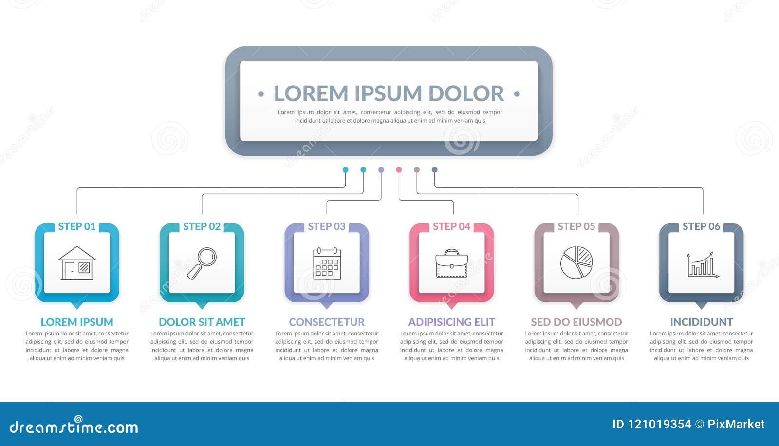 Infographic-Schablone mit 6 Schritten