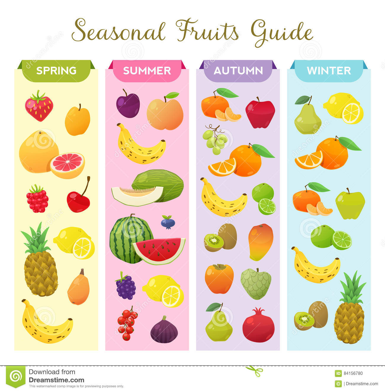 Infographic About Seasonal Fruits. Stock Vector