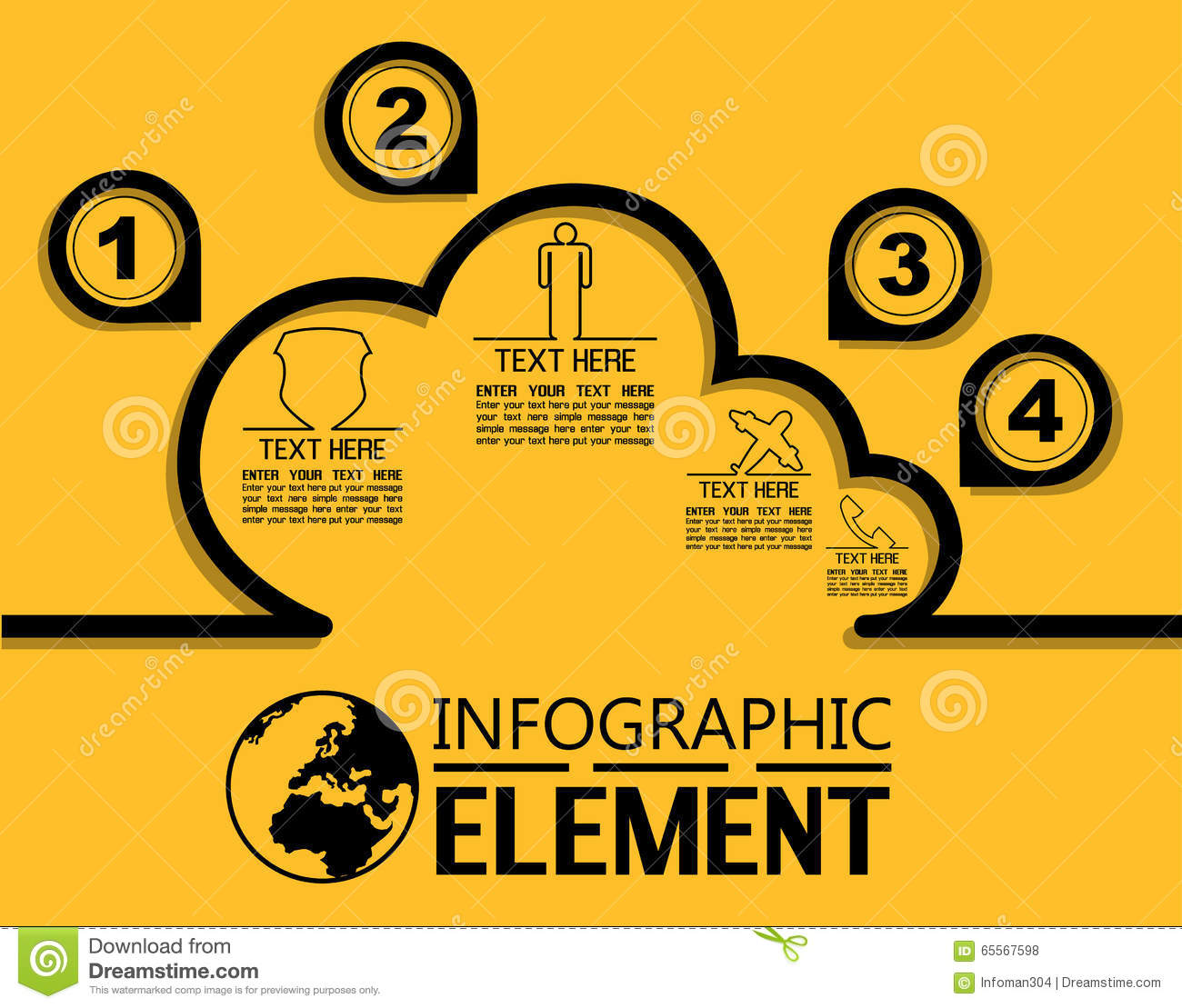Infographic Simple Line Style Template With Steps Parts Options ...