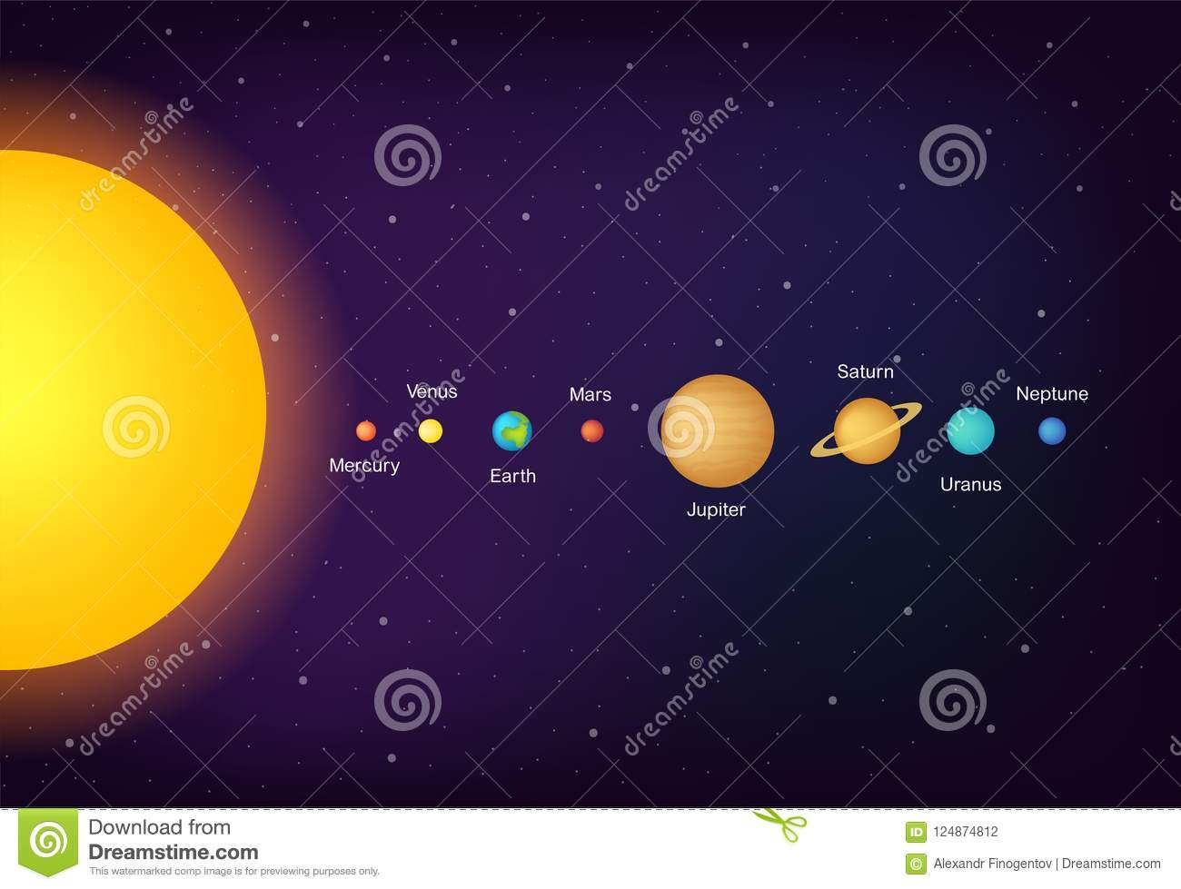 infographic solar system planets on universe background illustration