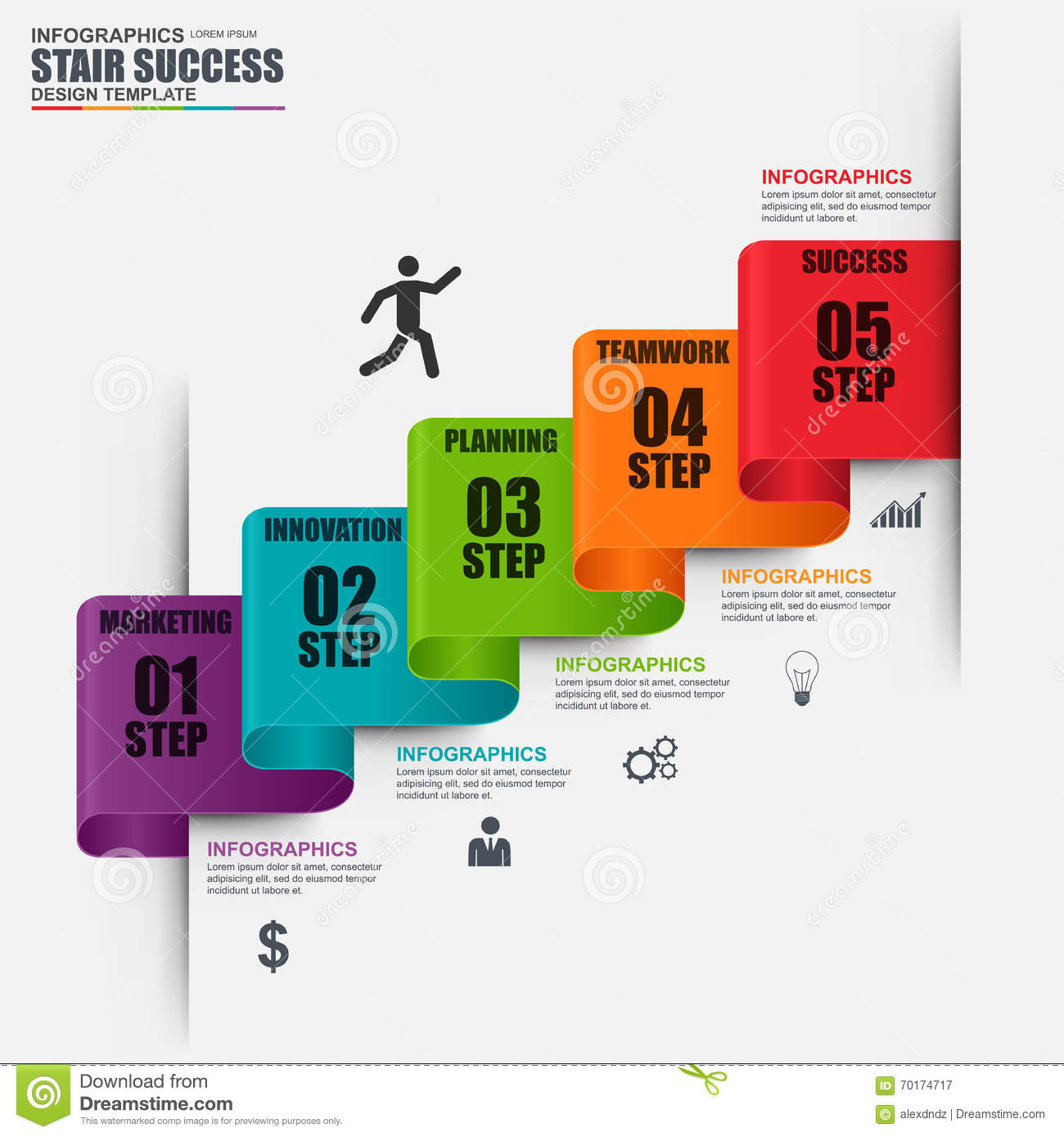 infographic staircase step vector design template stock vector