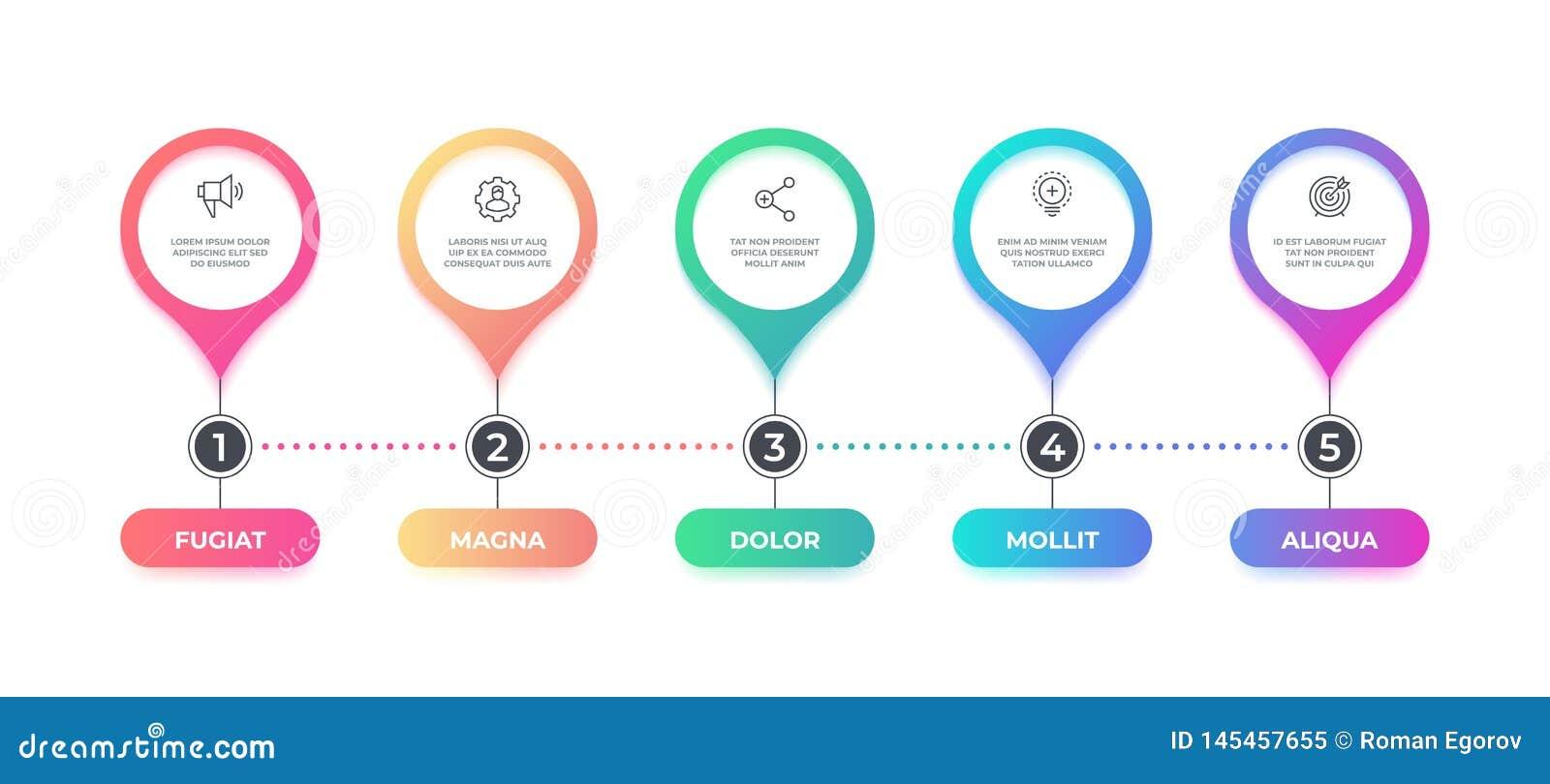 Infographic stap de stroomgrafiek van de 5 optieschronologie, bedrijfs grafisch element, het diagram van de werkschemalay-out Vec