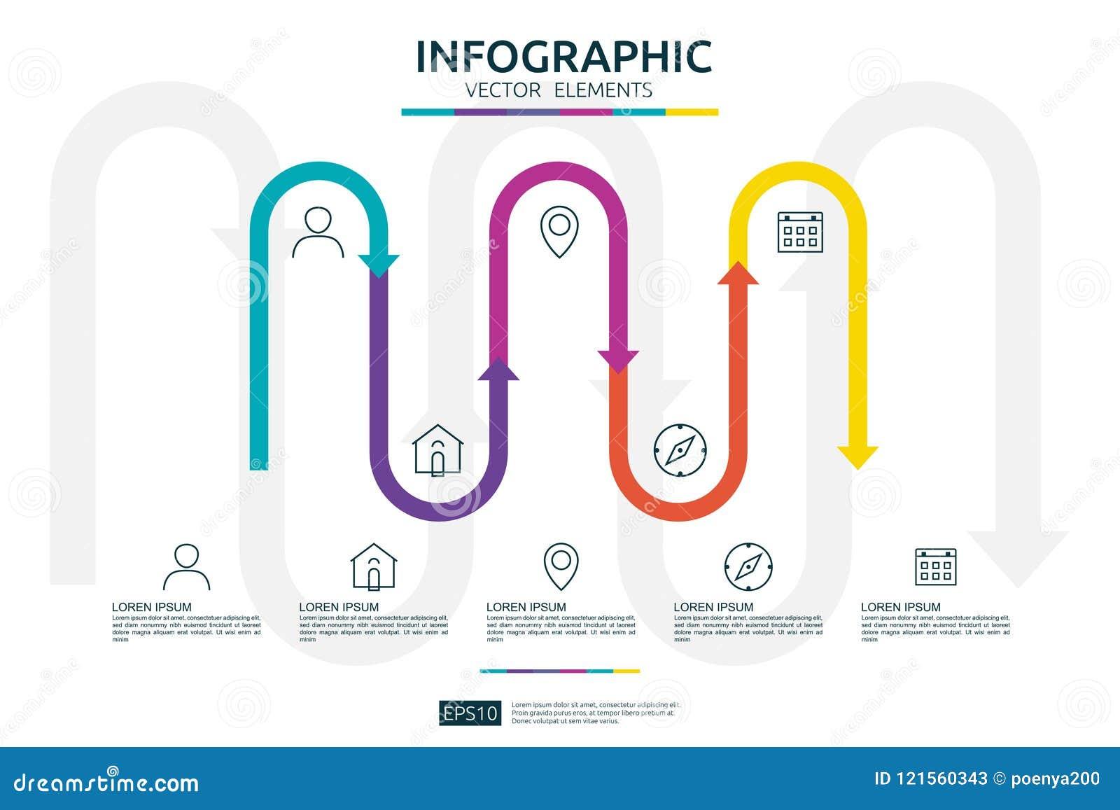 5 infographic stappen het malplaatje van het chronologieontwerp met 3D element van de pijlverbinding Bedrijfsconcept met opties V