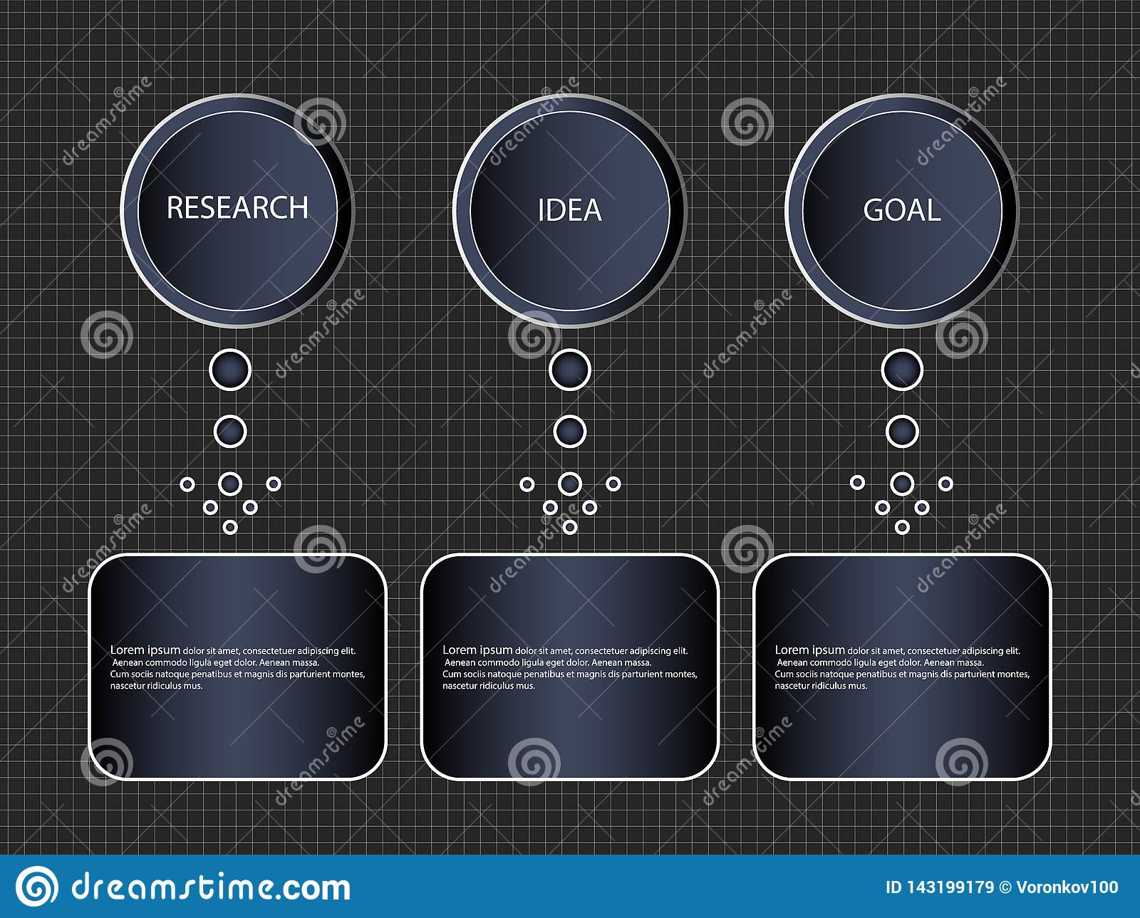 Infographic step-by-step process of 3 items or options, template. Vector business banner block diagram or the information schema.