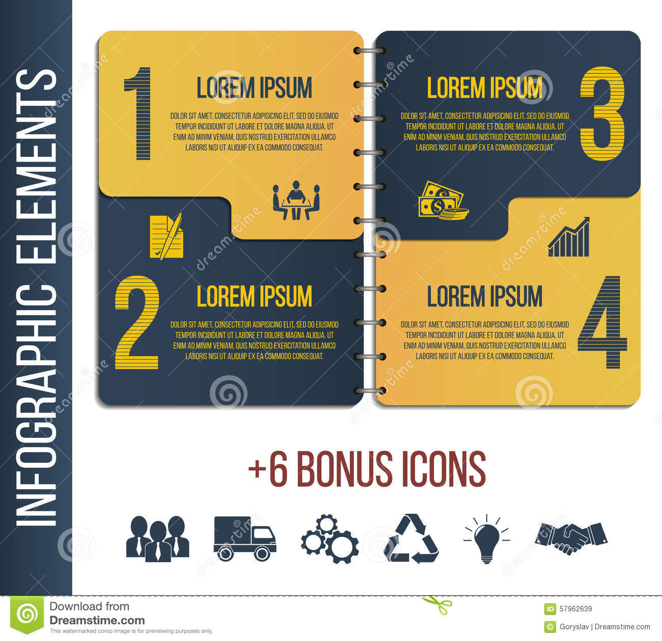 Infographic step by step brochure template or site with integrated icons