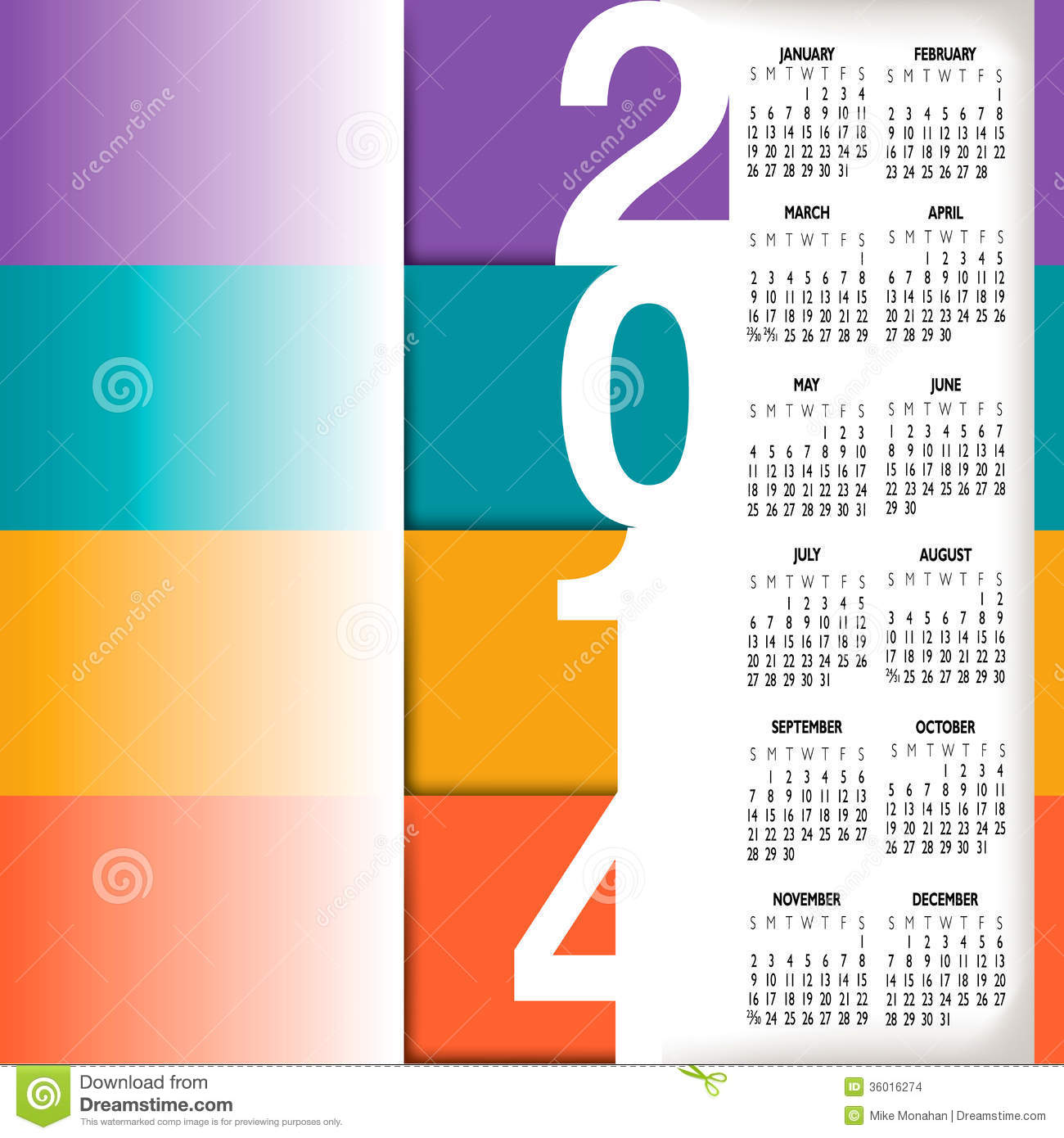 2014 Infographic Style Calendar Stock Images - Image: 36016274