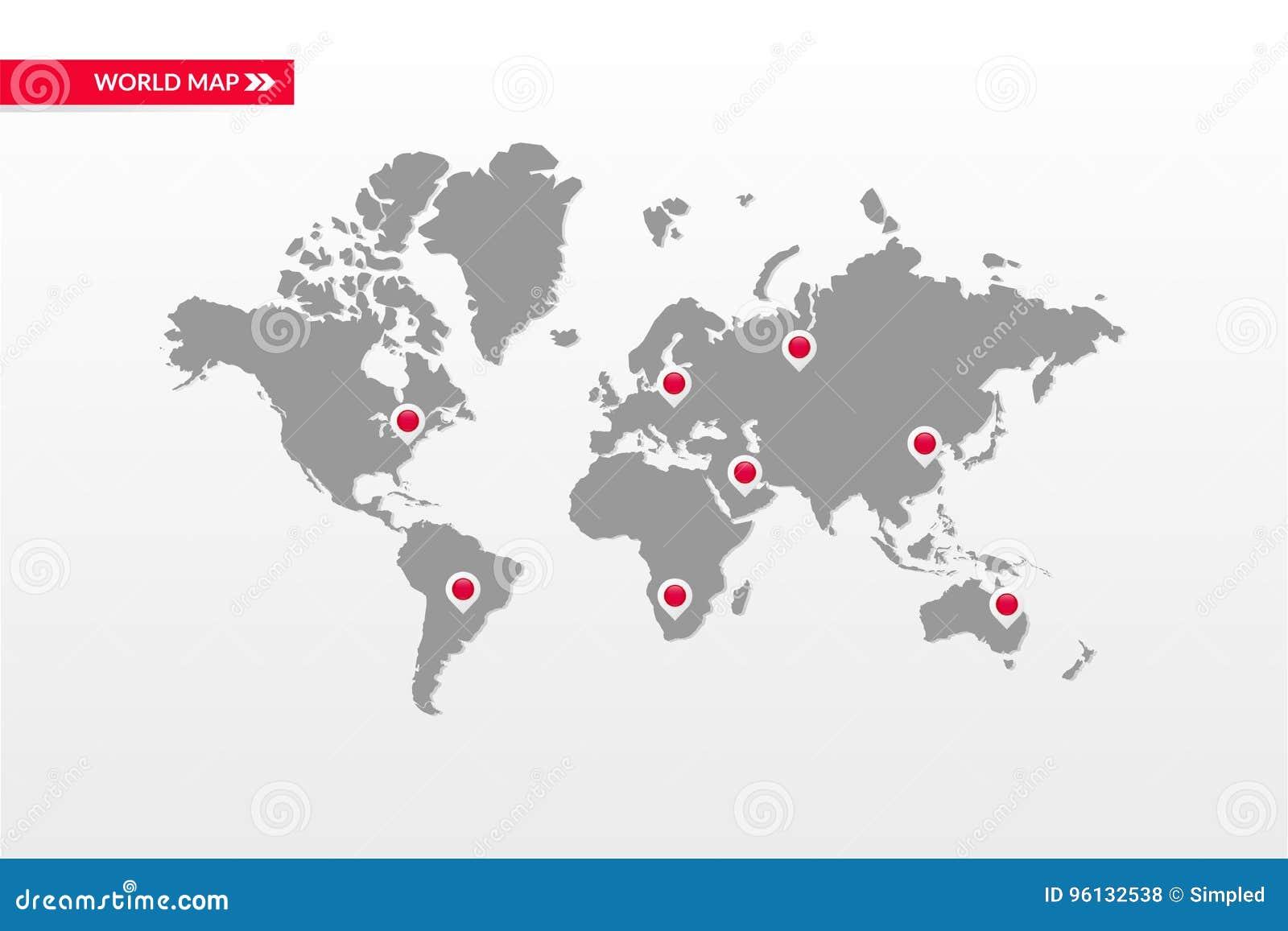 Infographic Symbol der Vektorweltkarte Landhauptkarten-Punktikonen Internationales globales Illustrationszeichen Schablonenelemen