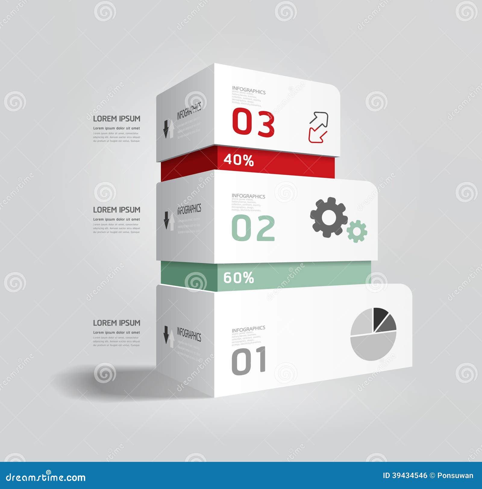 Infographic szablonu Nowożytnego pudełkowatego projekta Minimalny styl.