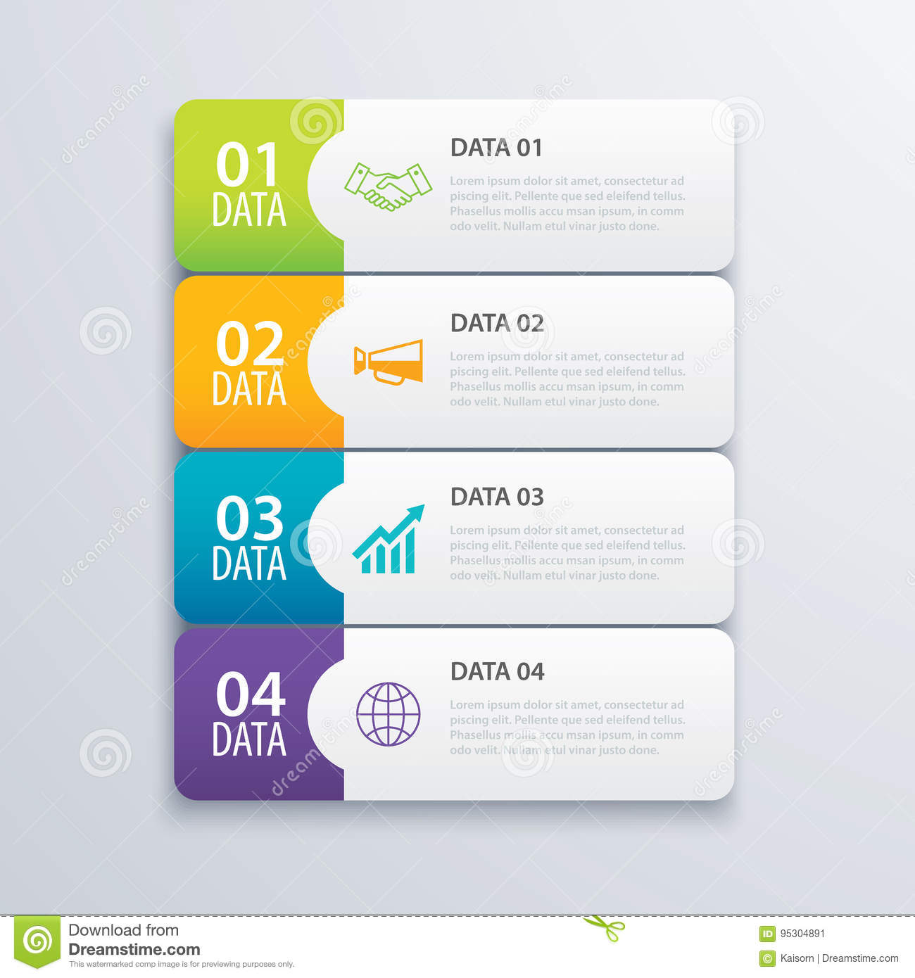 4 infographic tab index banner design vector and marketing stock