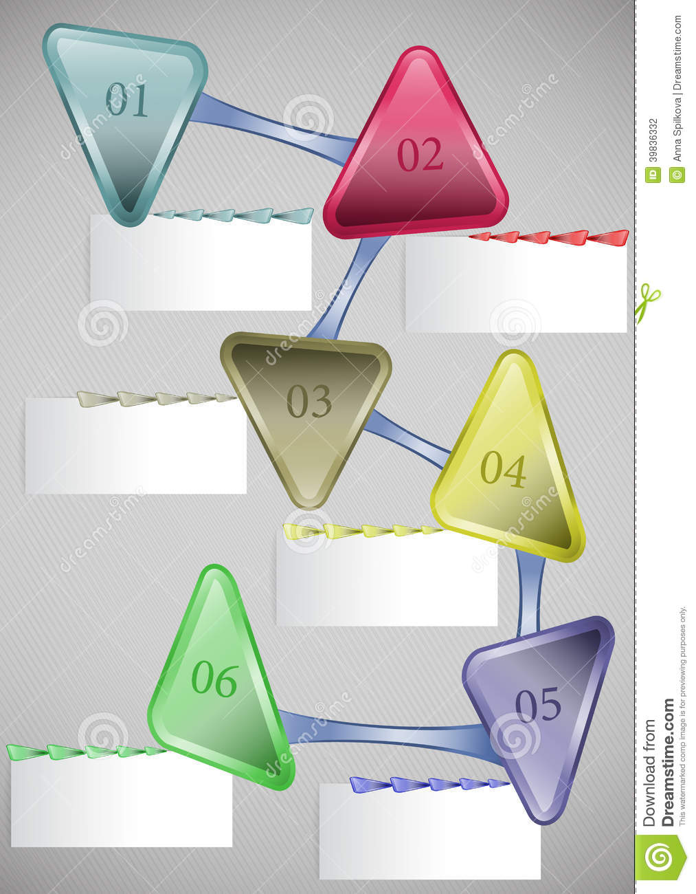 infographic template with arrows and blank cards stock vector