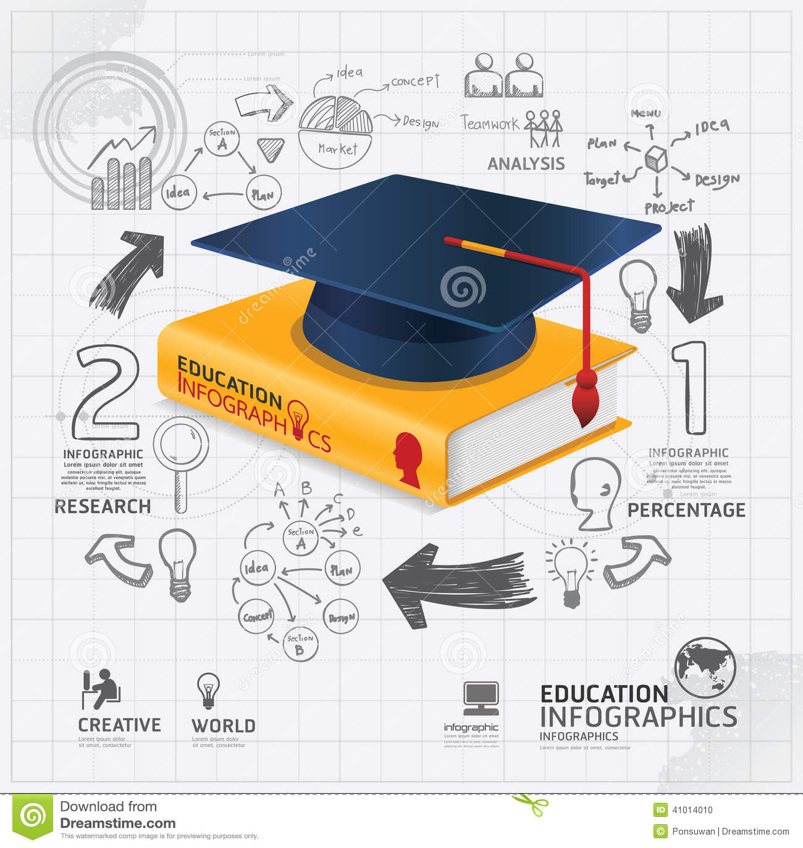 Vector Drawing Lines Kindergarten : Infographic template with book and graduation cap doodles