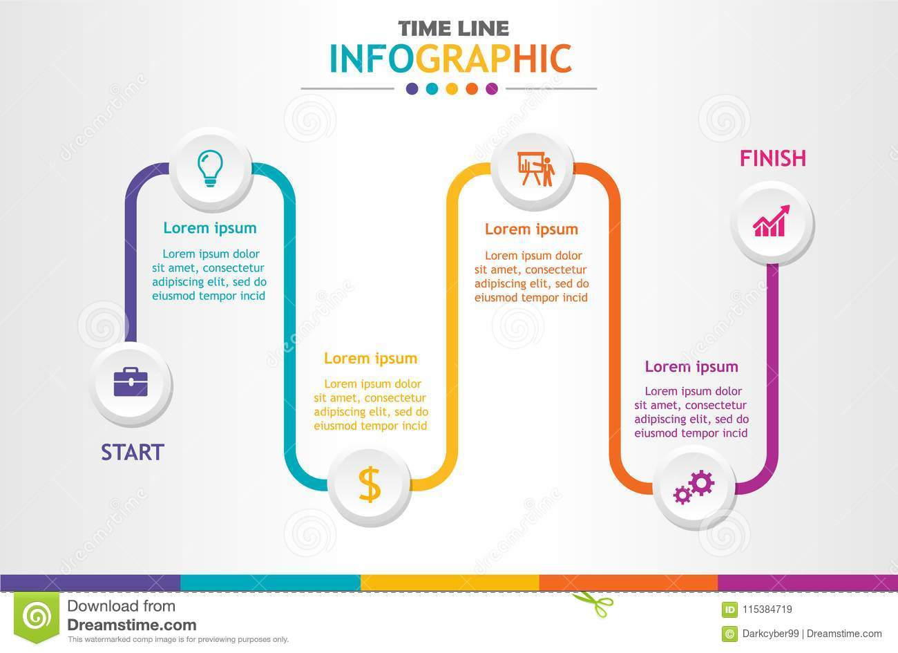 infographic template for business with 6 steps timeline diagram